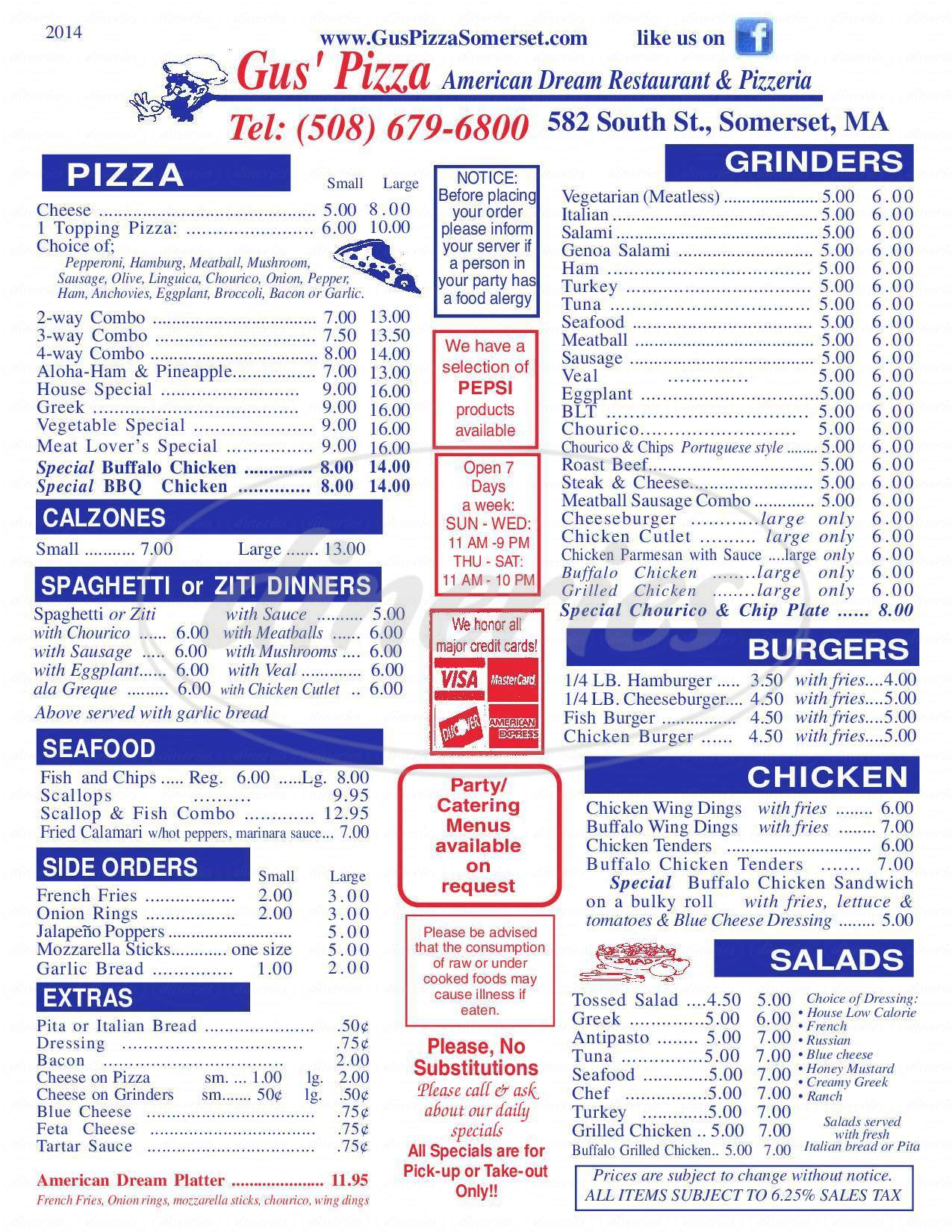 menu for Gus's Pizza