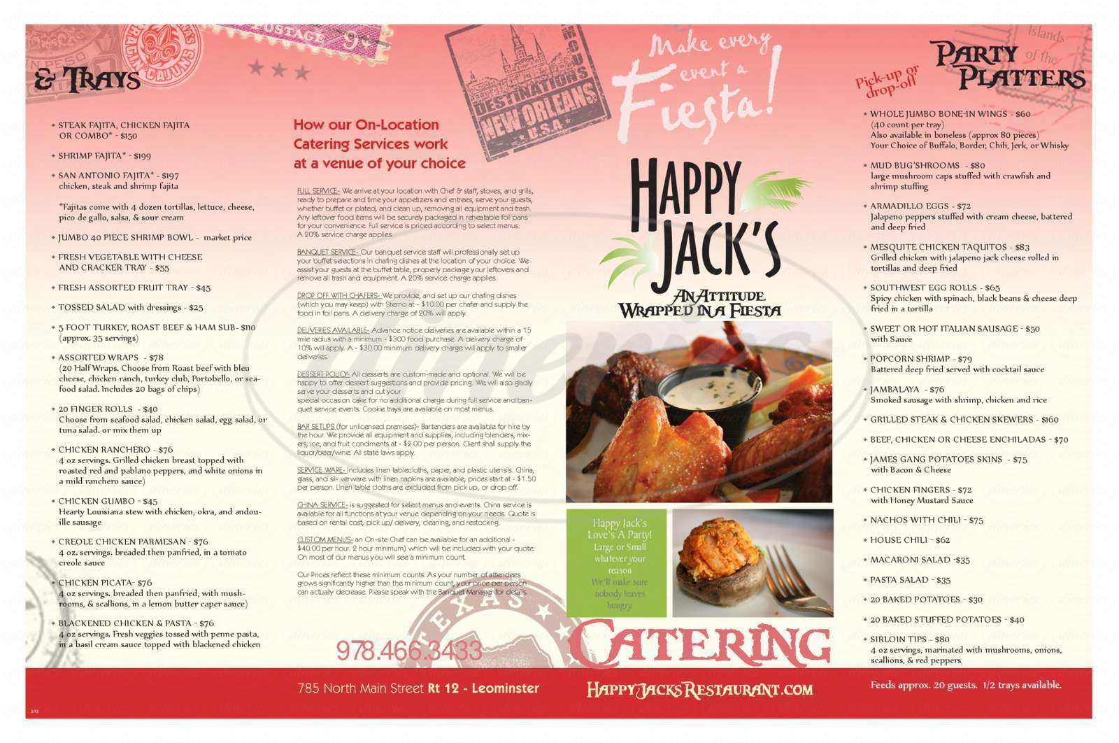 menu for Happy Jack's