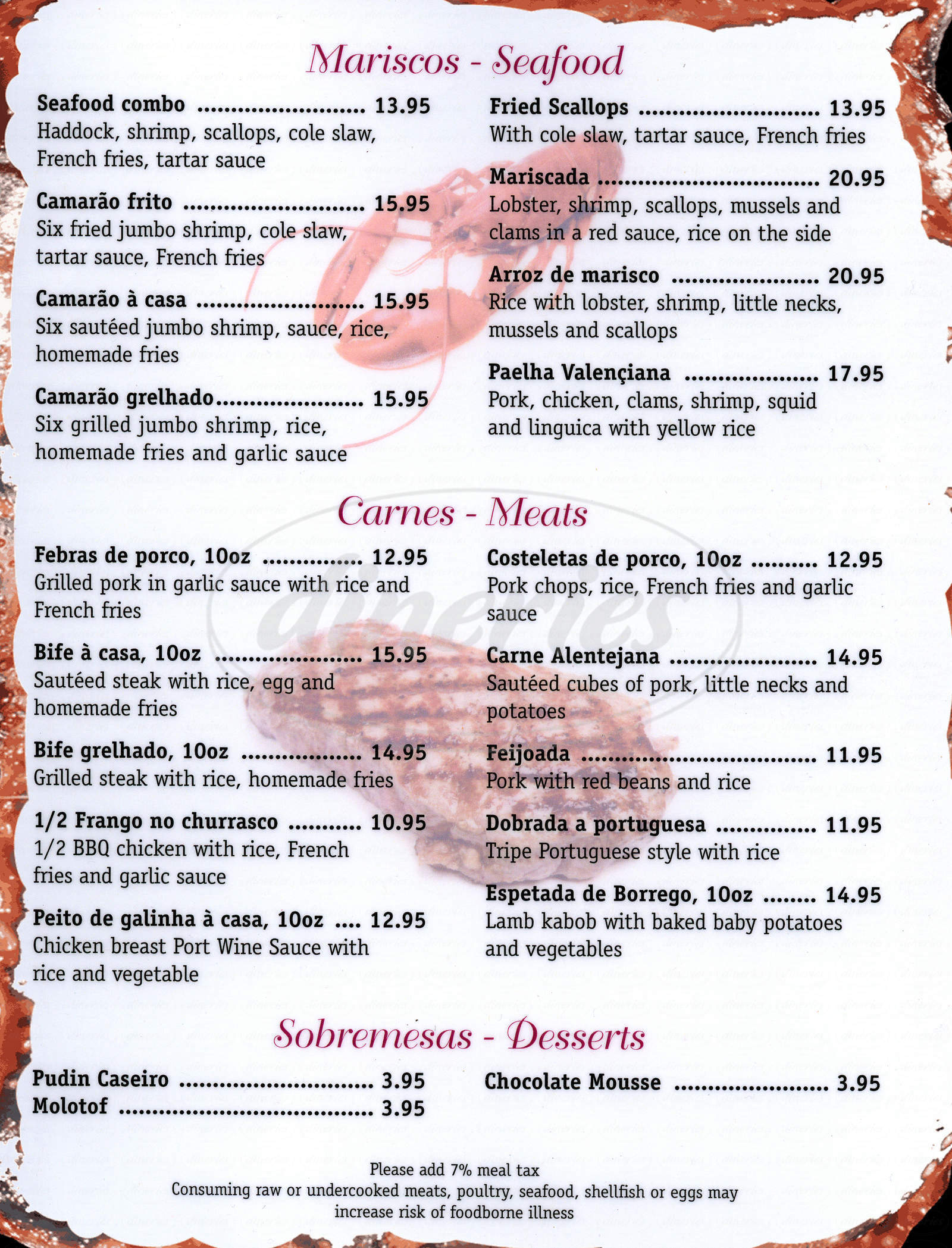 menu for J and J Restaurant & Takeout