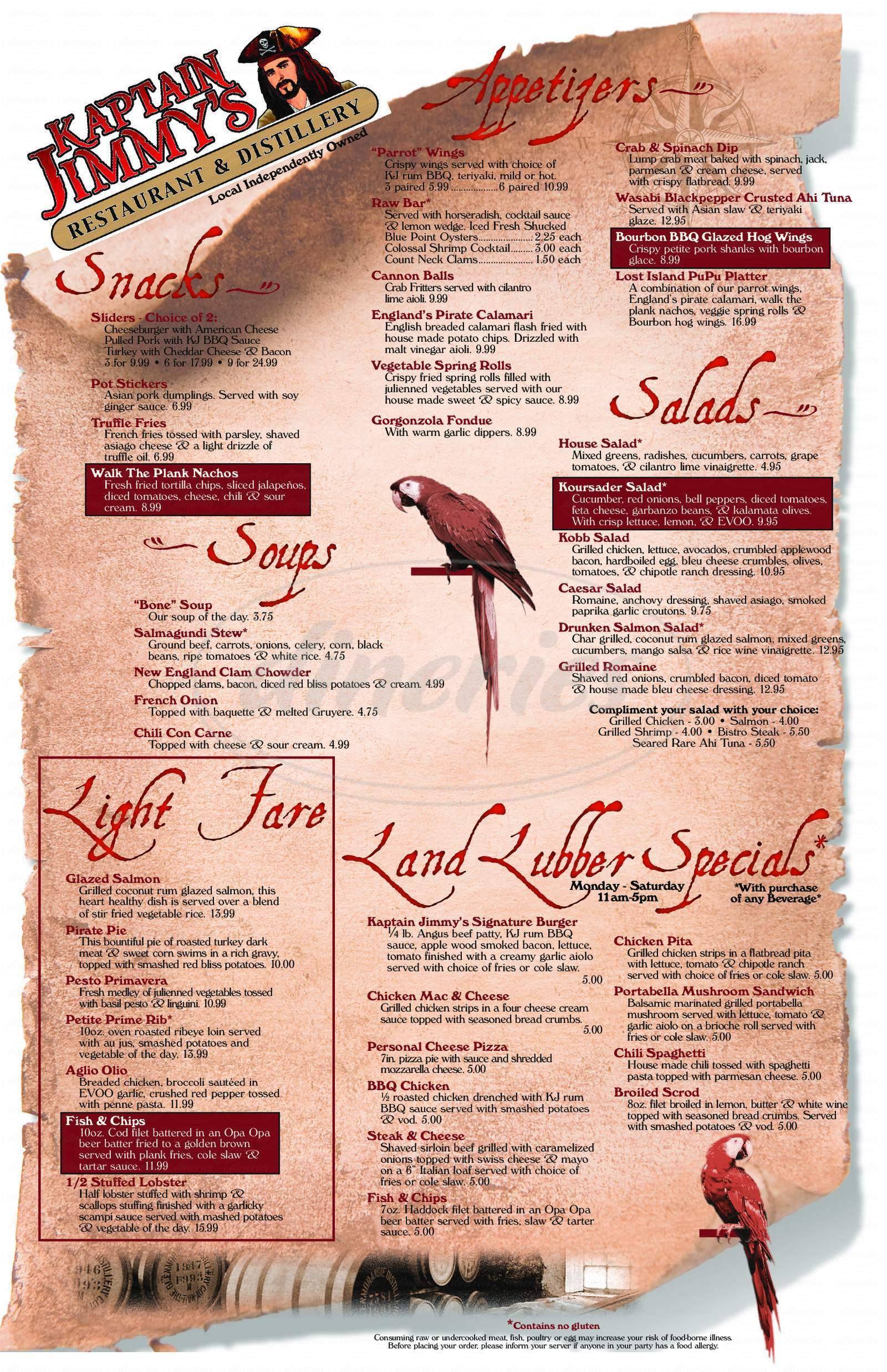 menu for Kaptain Jimmy's