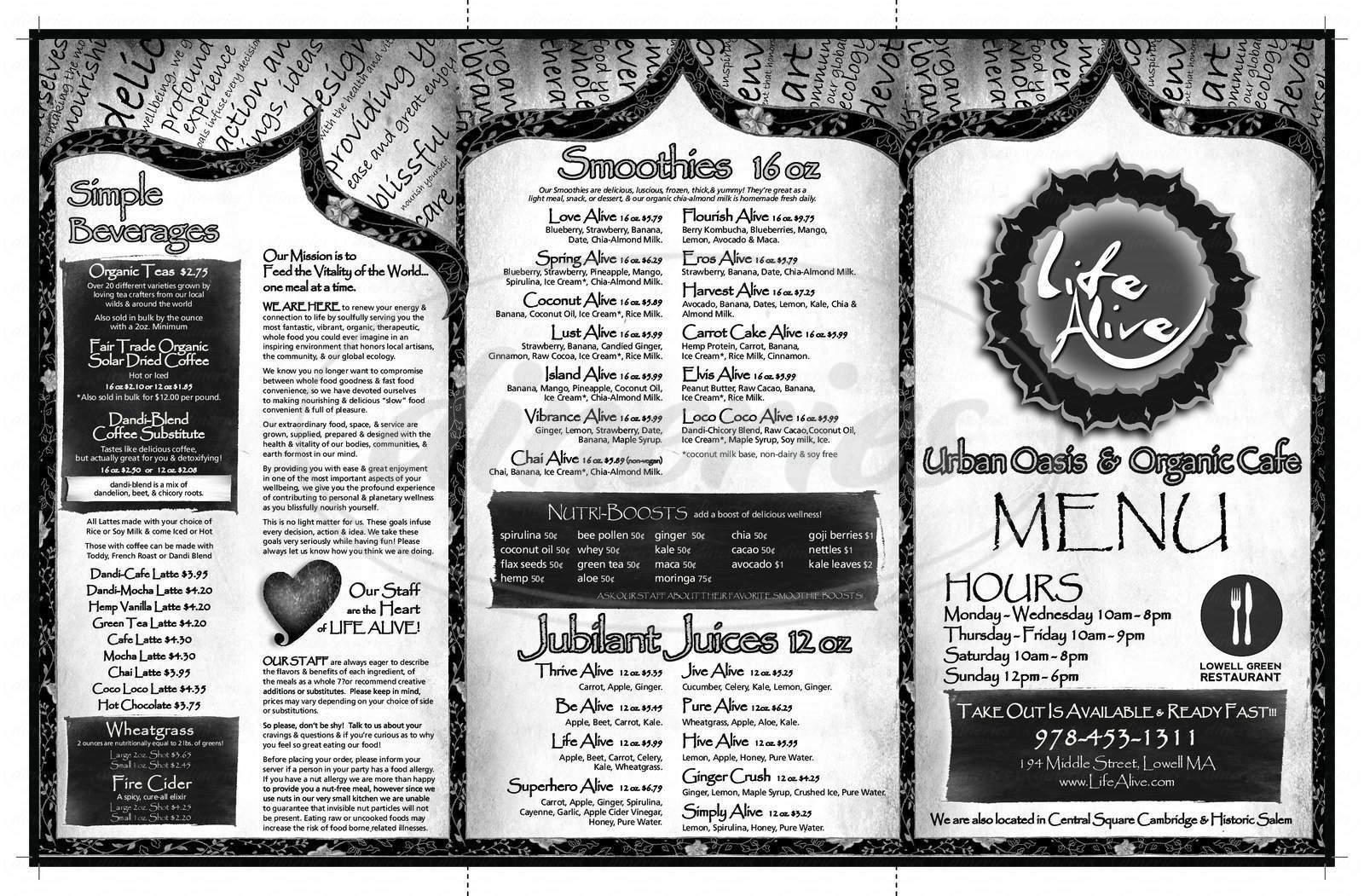 menu for Life Alive