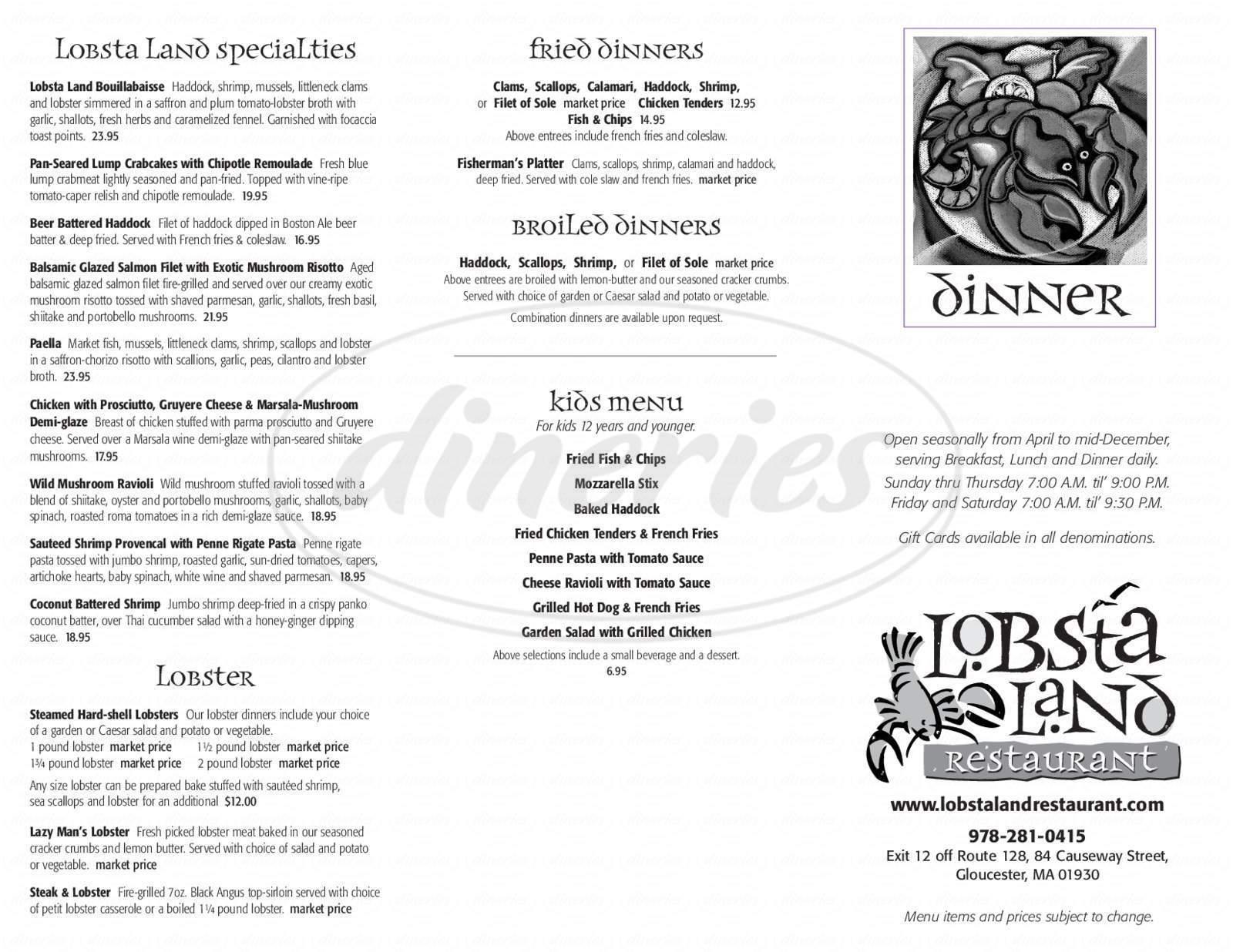 menu for Lobsta Land