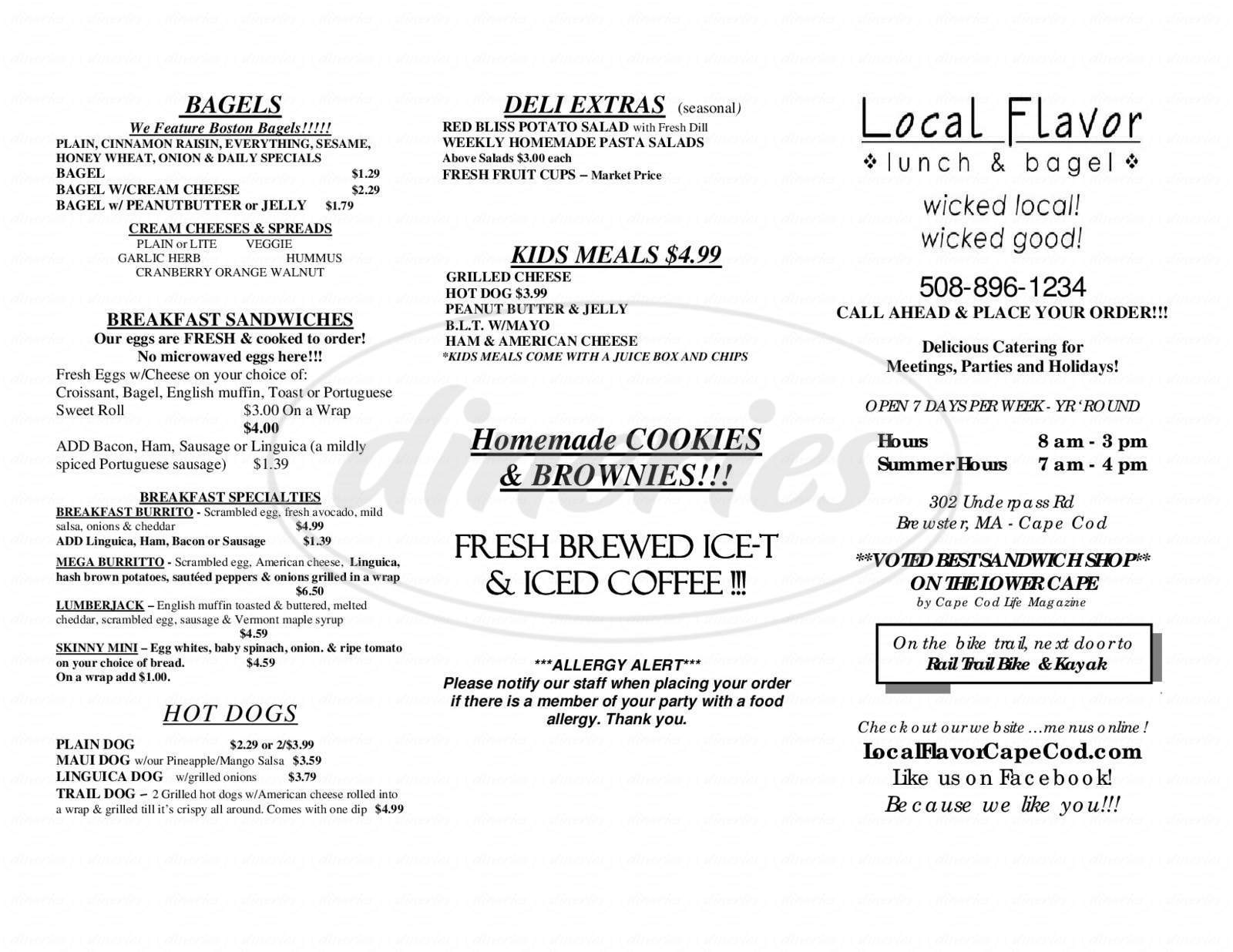menu for Local Flavor