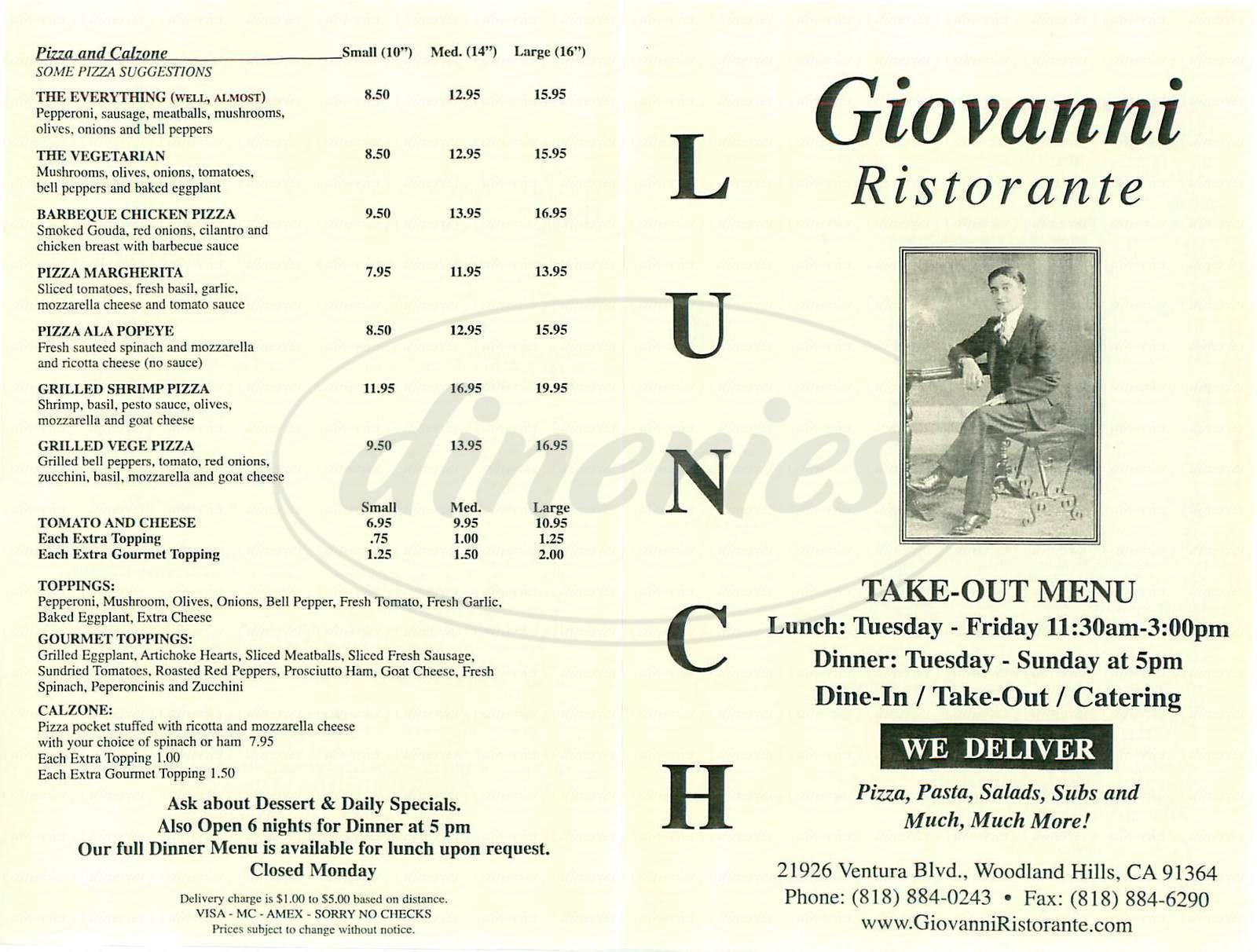 menu for Giovanni Ristorante