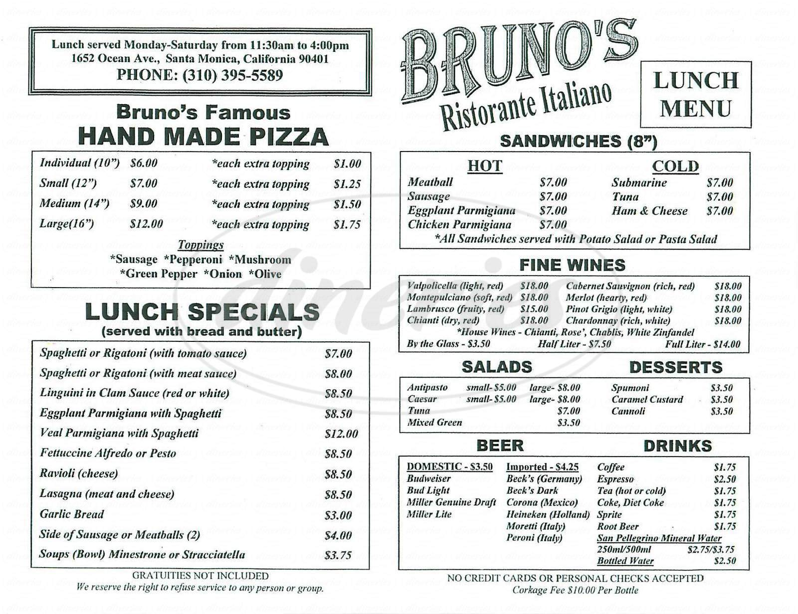 menu for Brunos