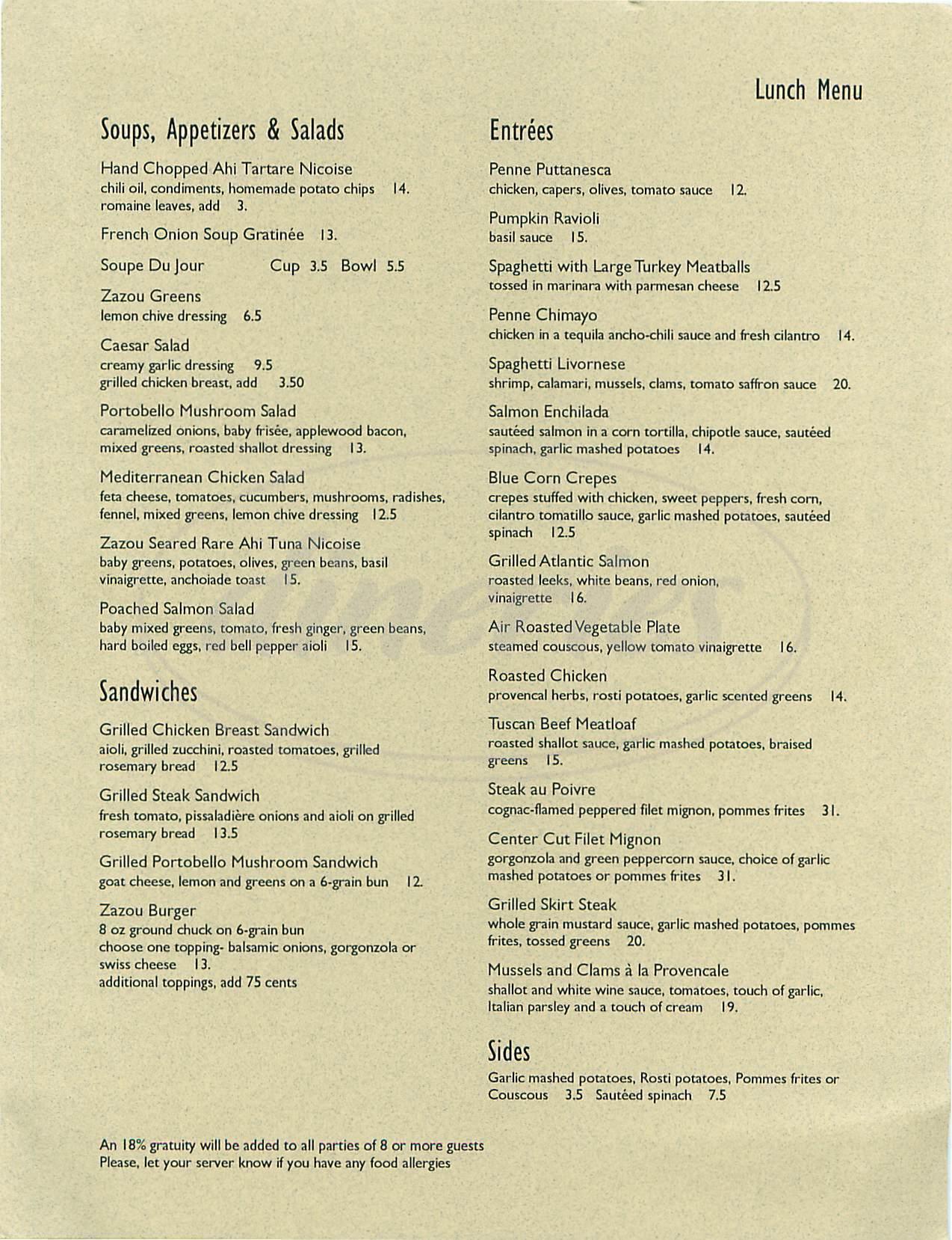 menu for Zazou