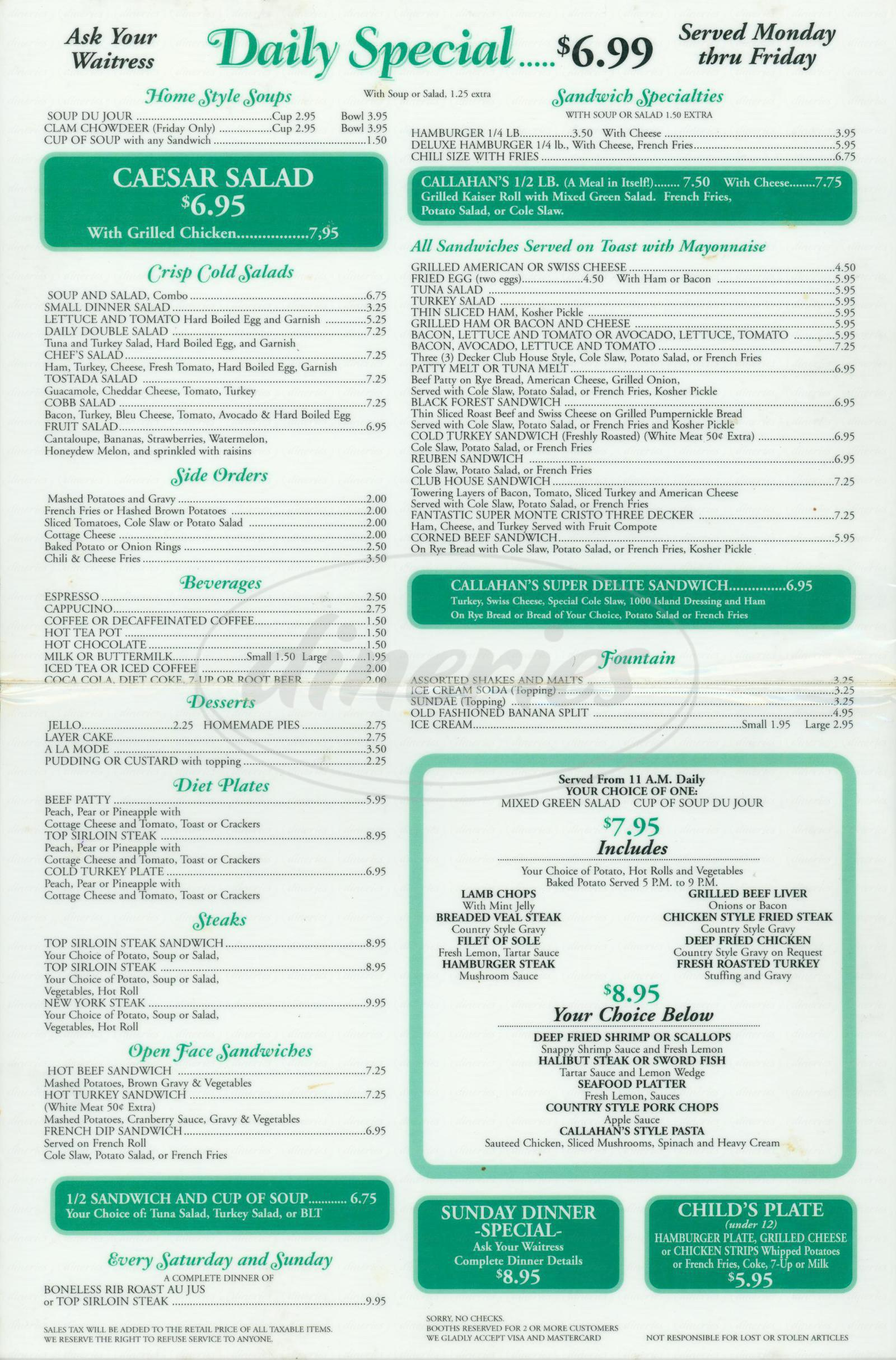 menu for Callahans Restaurant