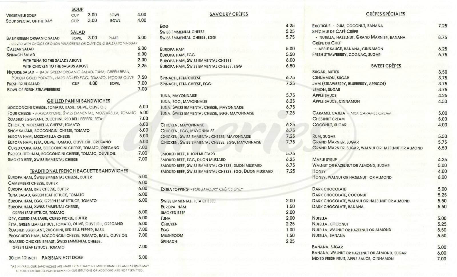 menu for Café Crepe