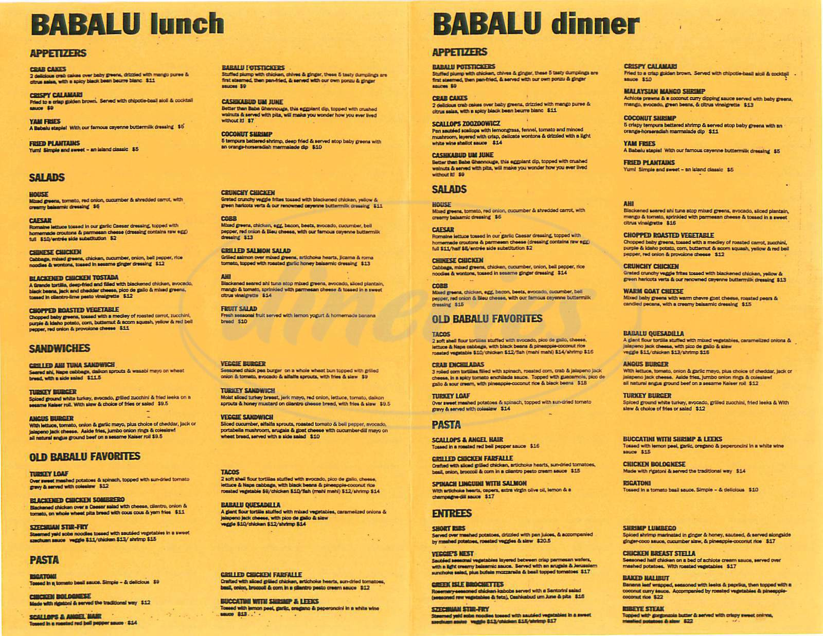 menu for Babalu