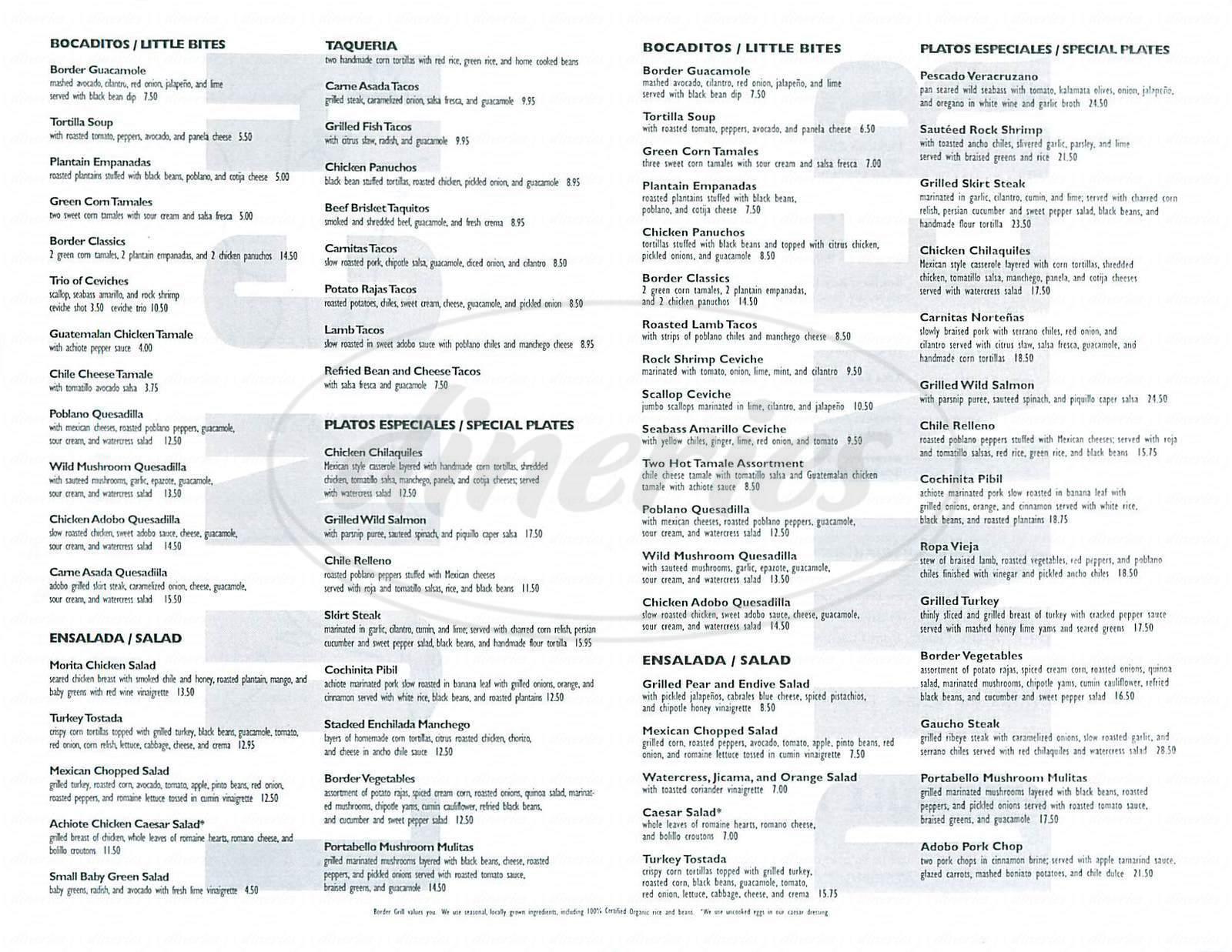 menu for Border Grill