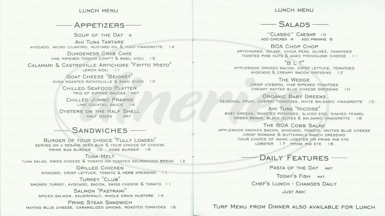 menu for Boa Steakhouse