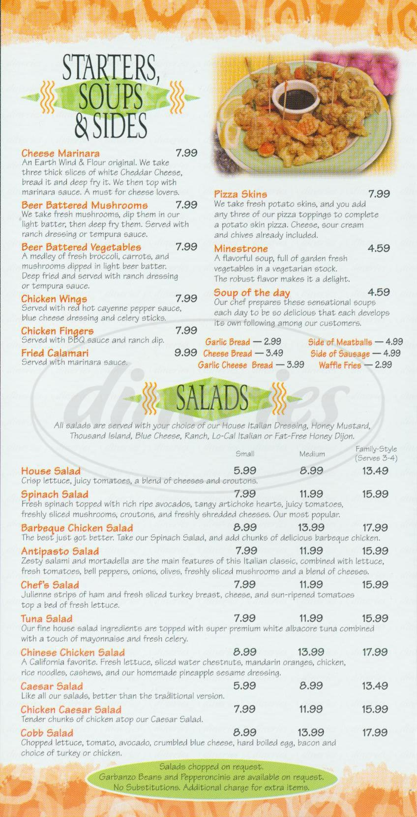 menu for Earth Wind & Flour