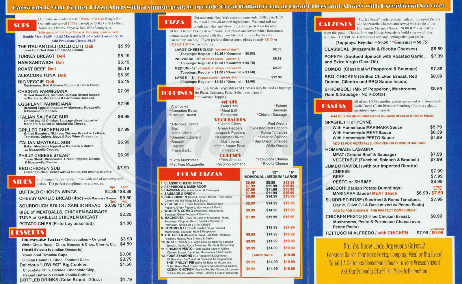 menu for Dagwoods Pizza