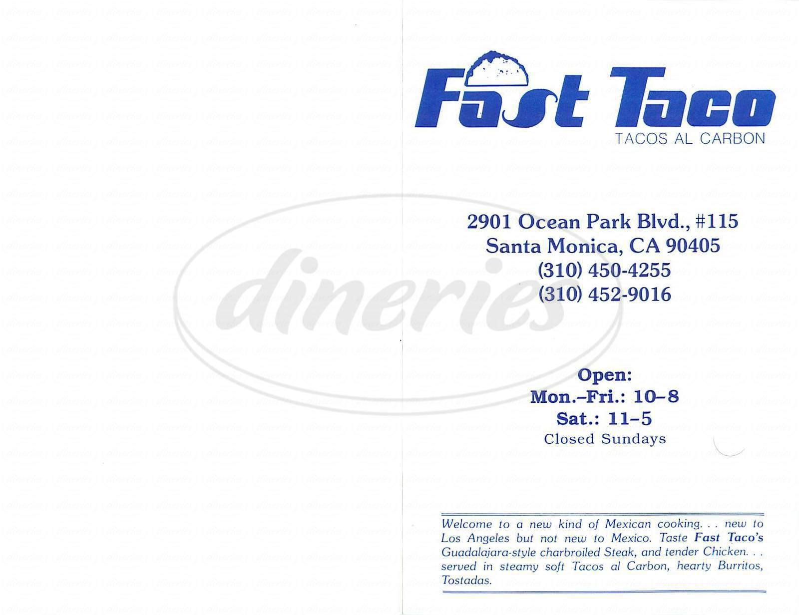 menu for Fast Taco