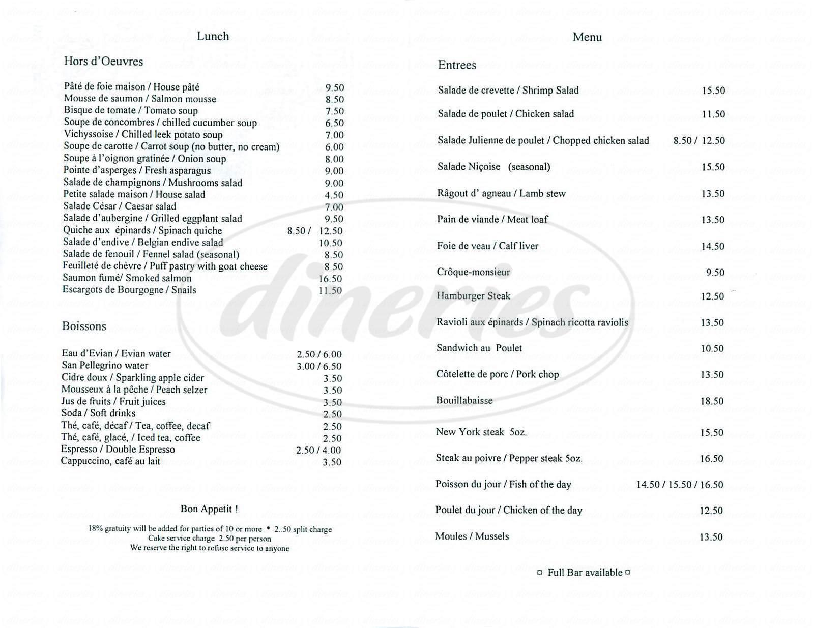 menu for Chez Mimi