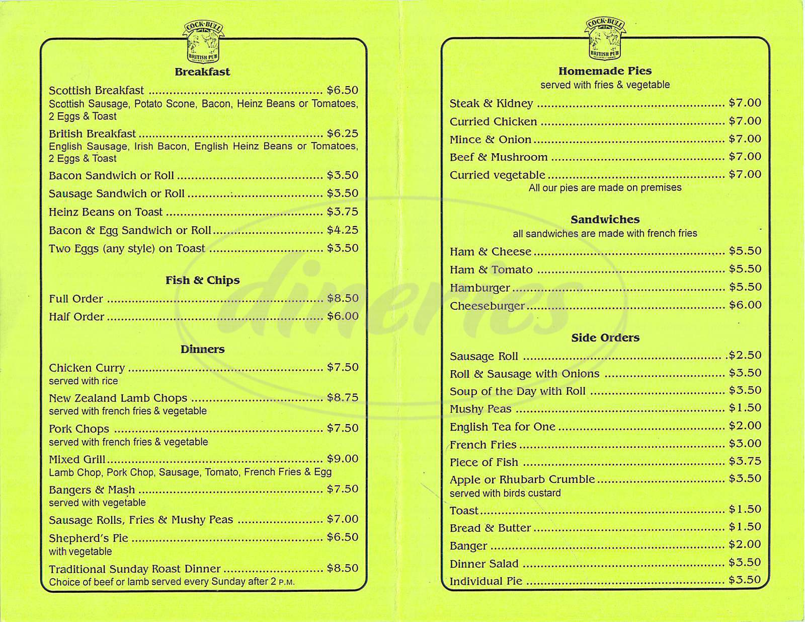 menu for Cock N Bull Pub