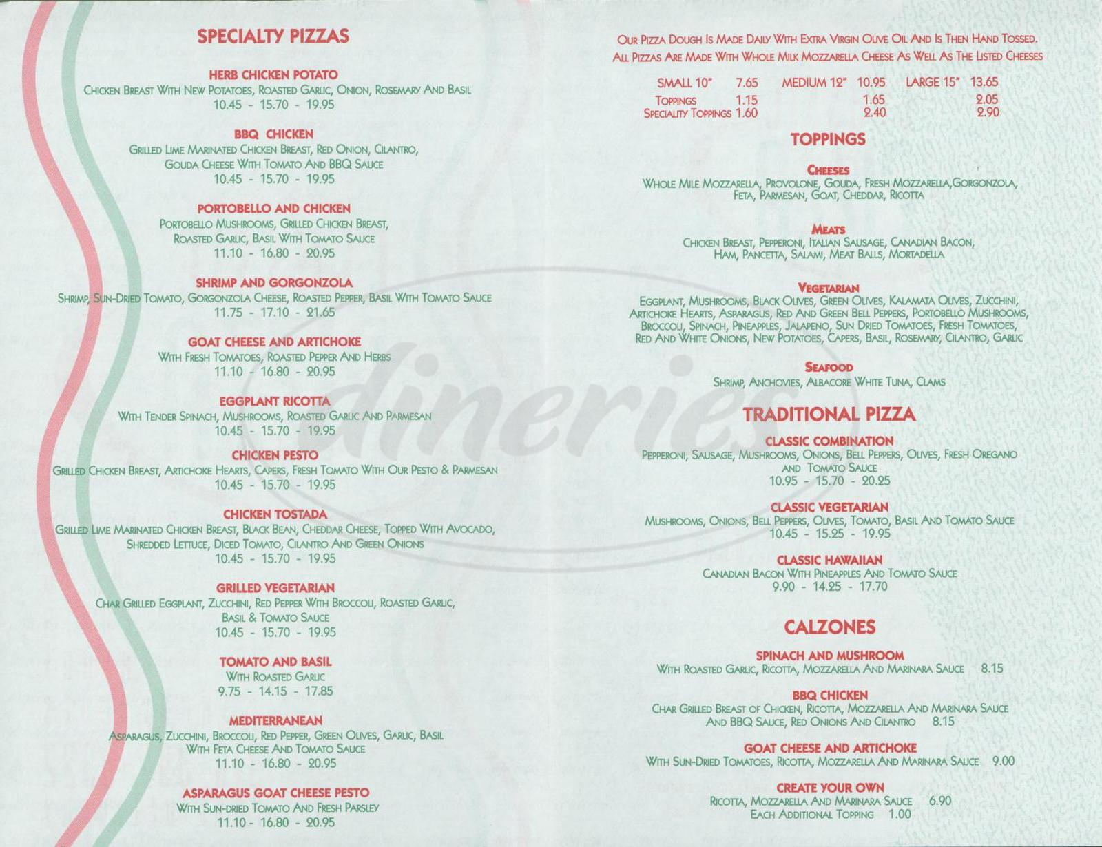 menu for Classic Pizza