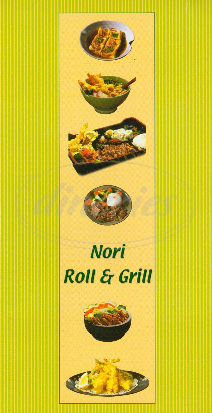 menu for Nori Roll & Grill