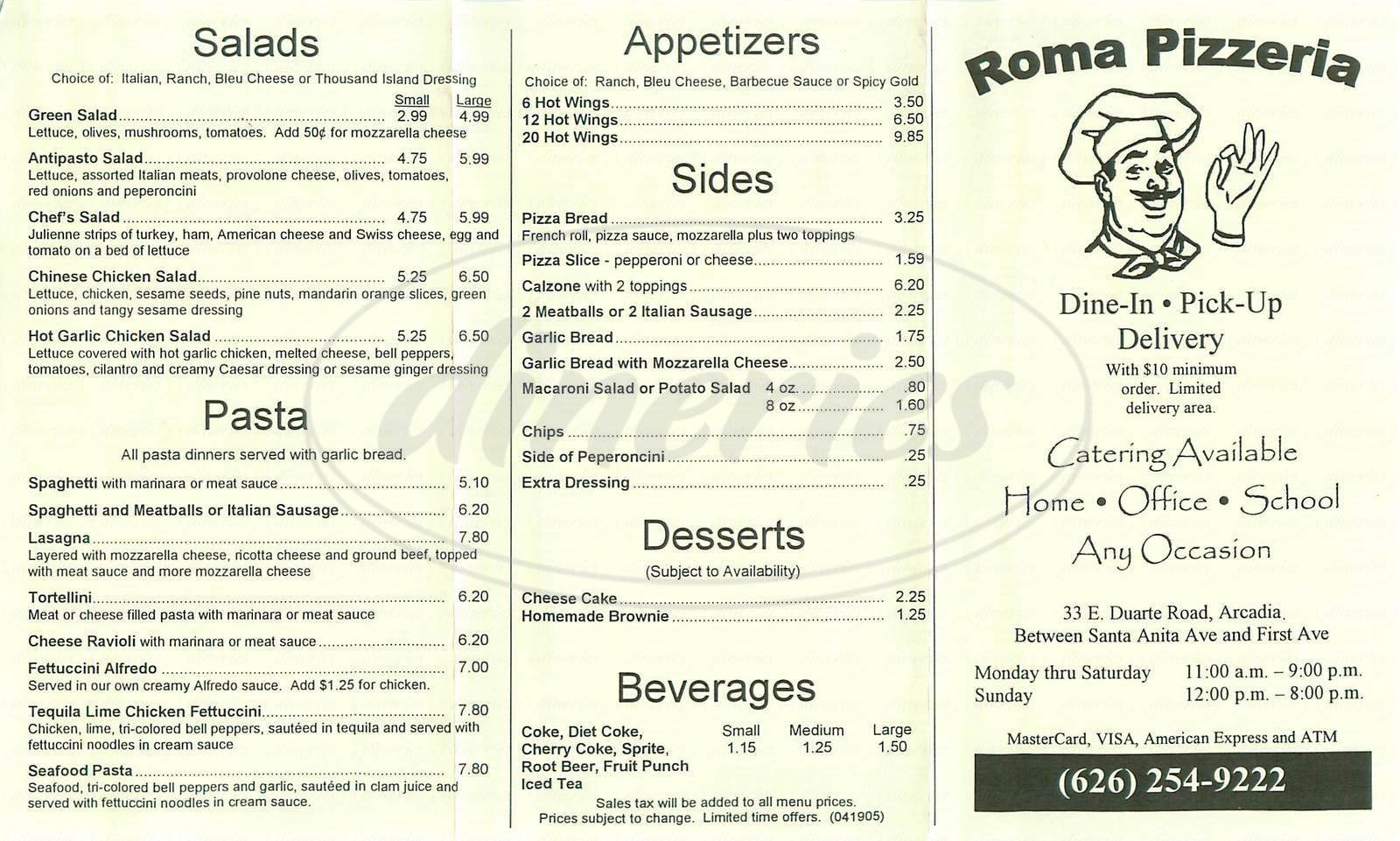 menu for Roma Pizzeria
