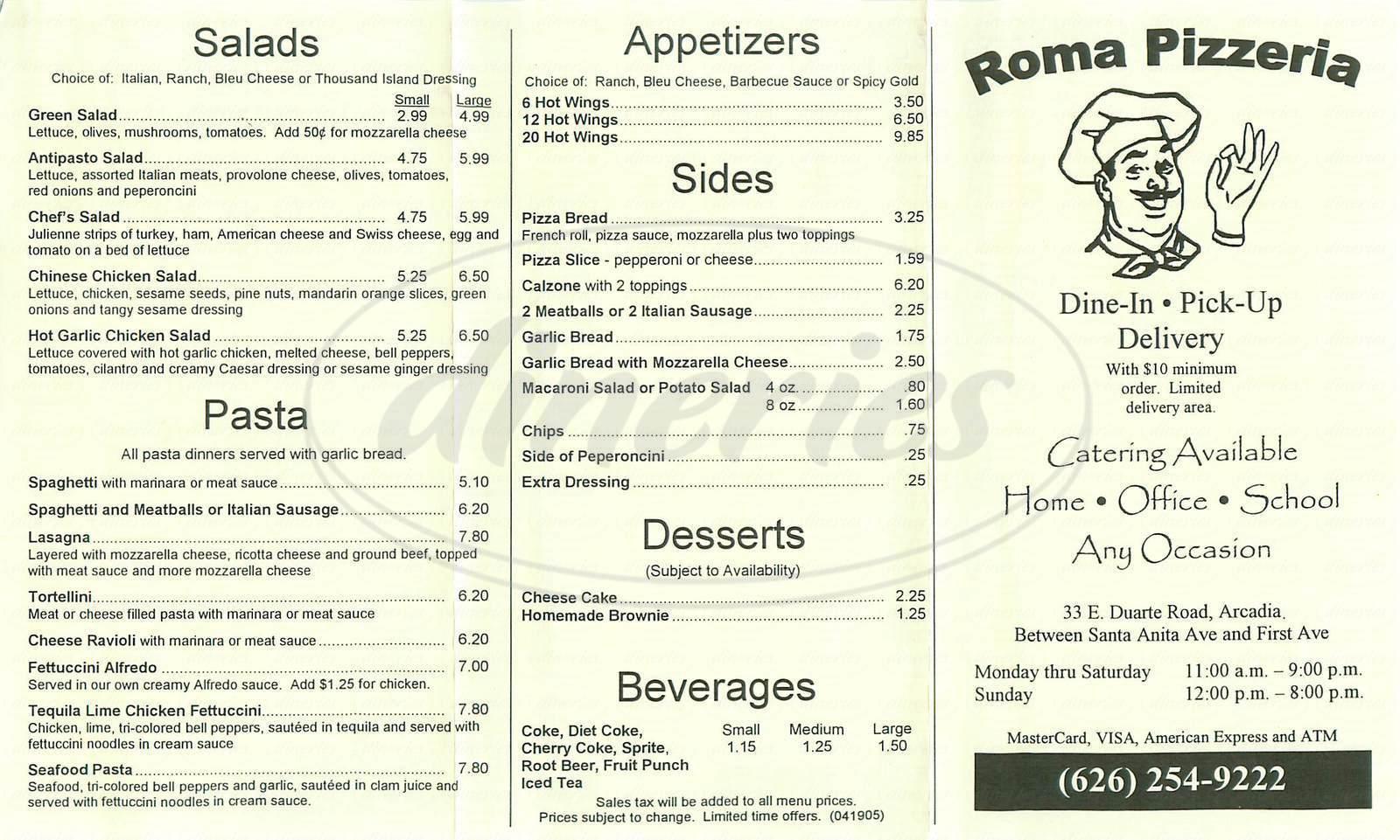 menu for Roma Pizzeria