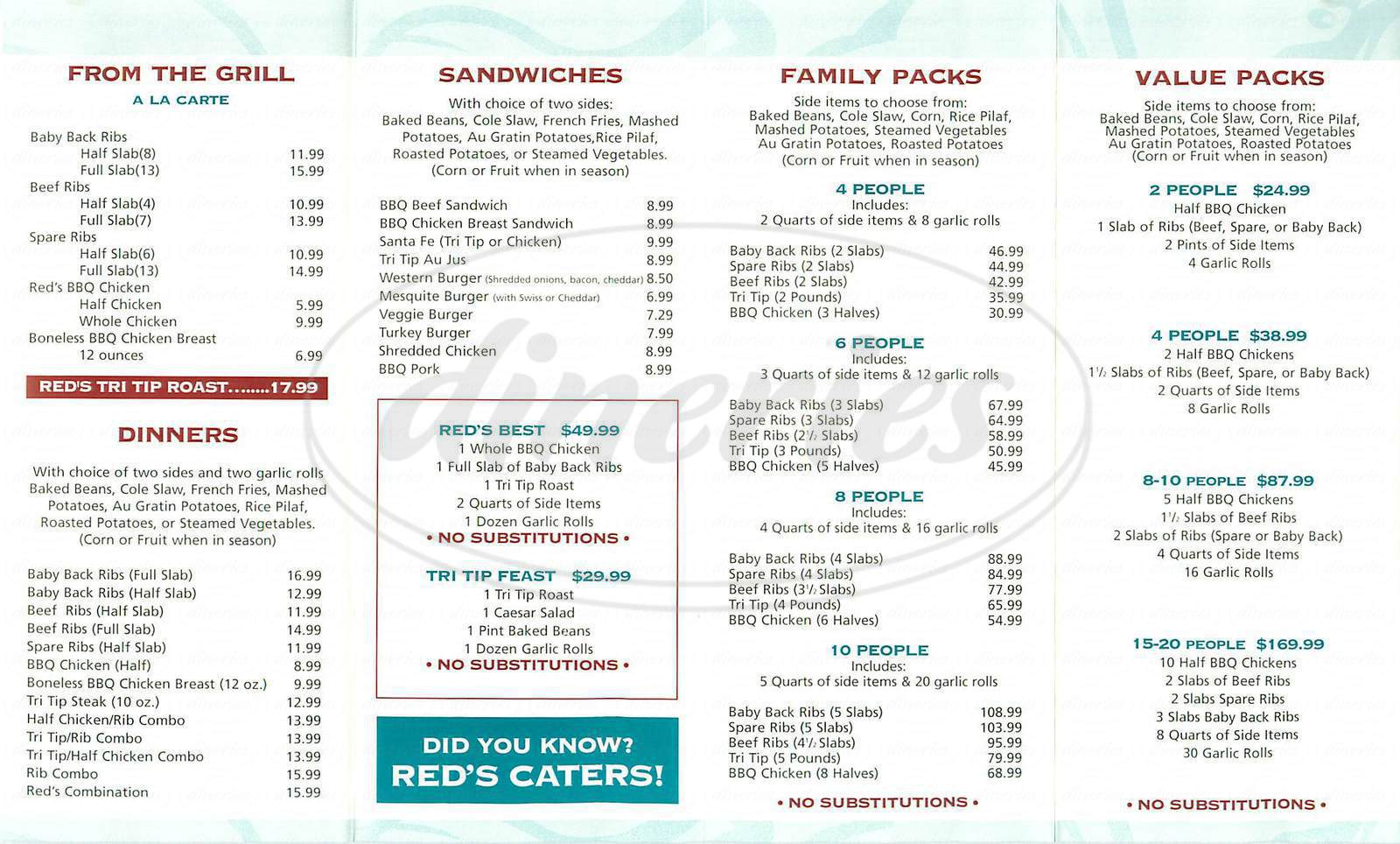 menu for Reds BBQ & Grillery