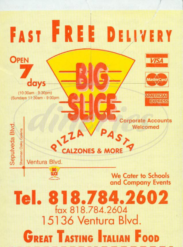 menu for Big Slice