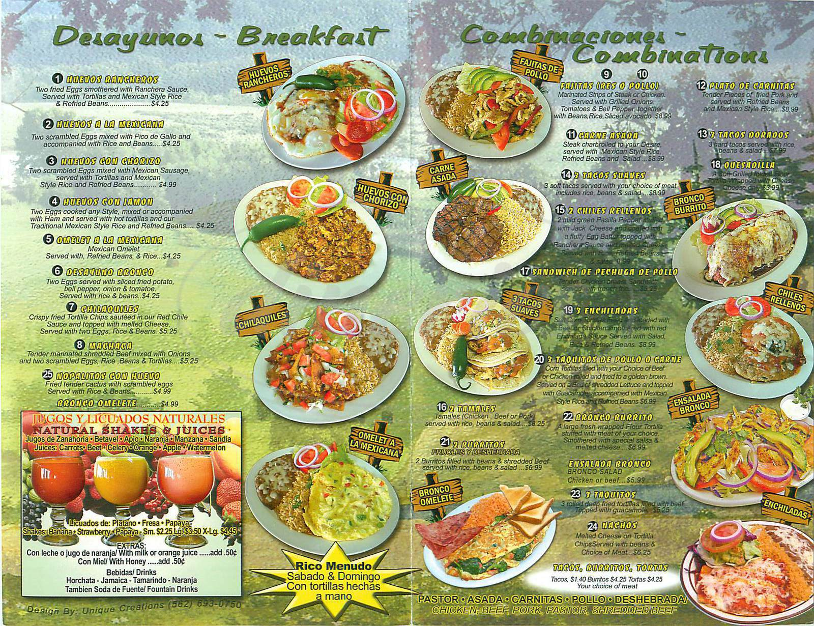 menu for Bronco Restaurant