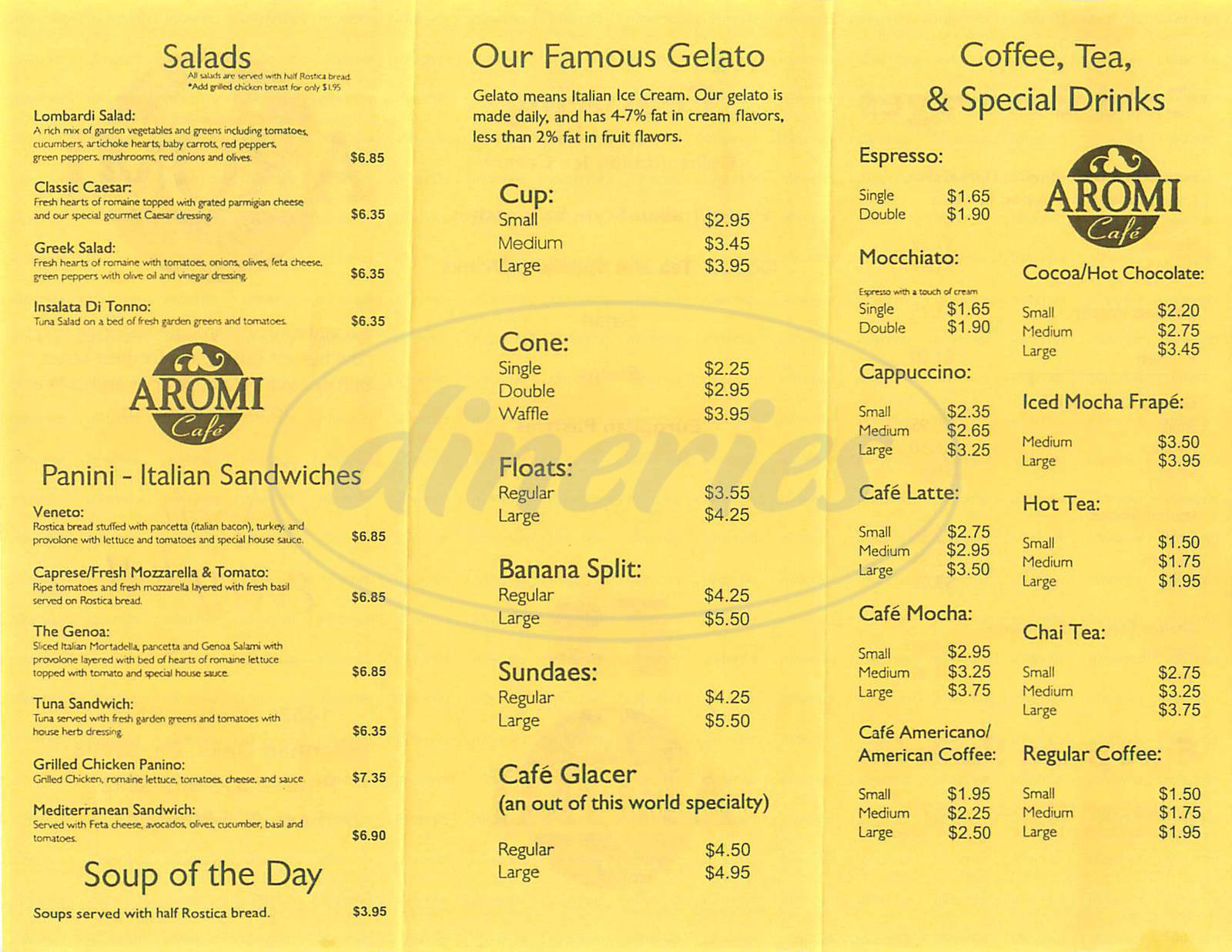 menu for Aromi Café