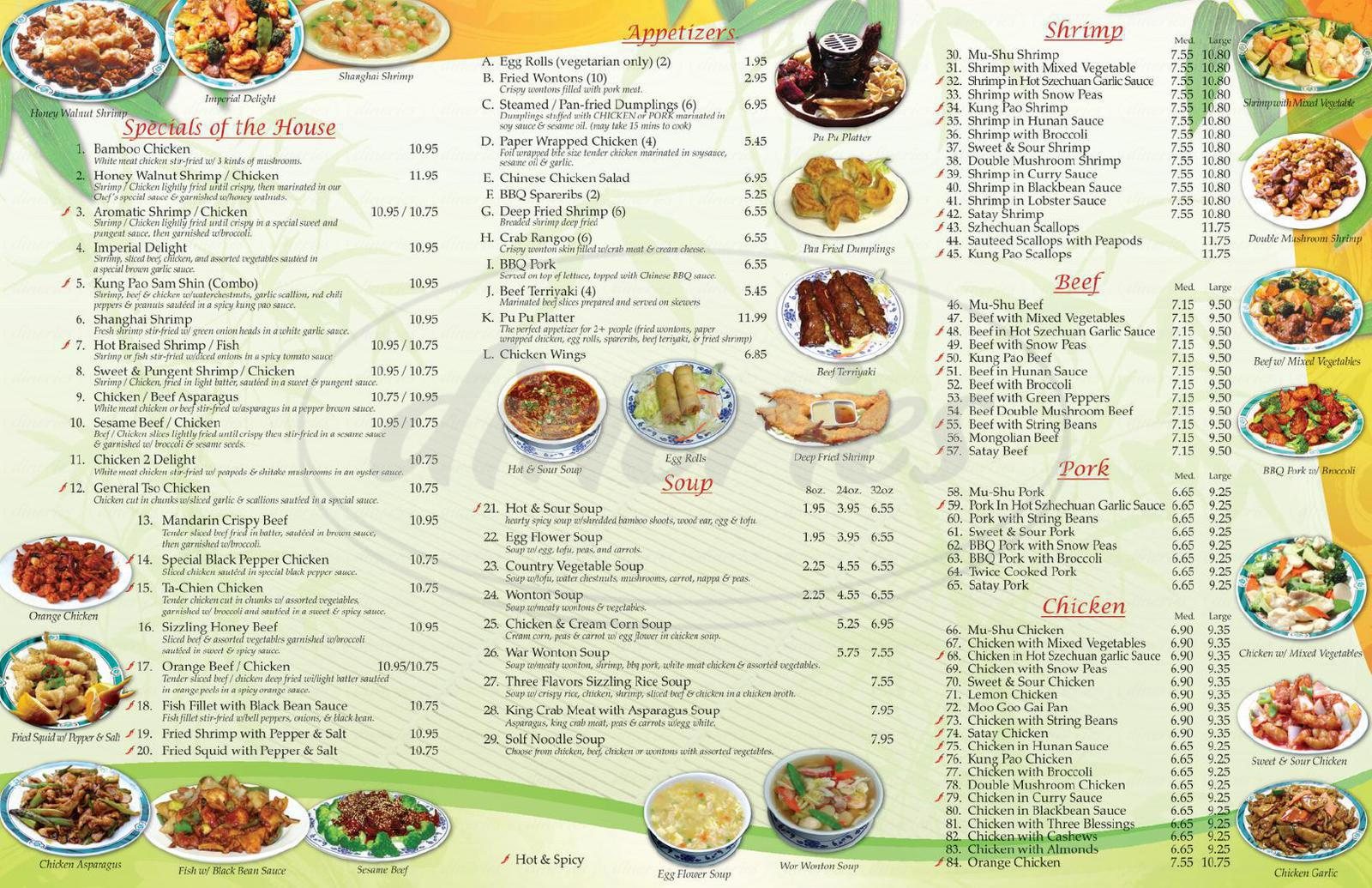 menu for Bamboo Village