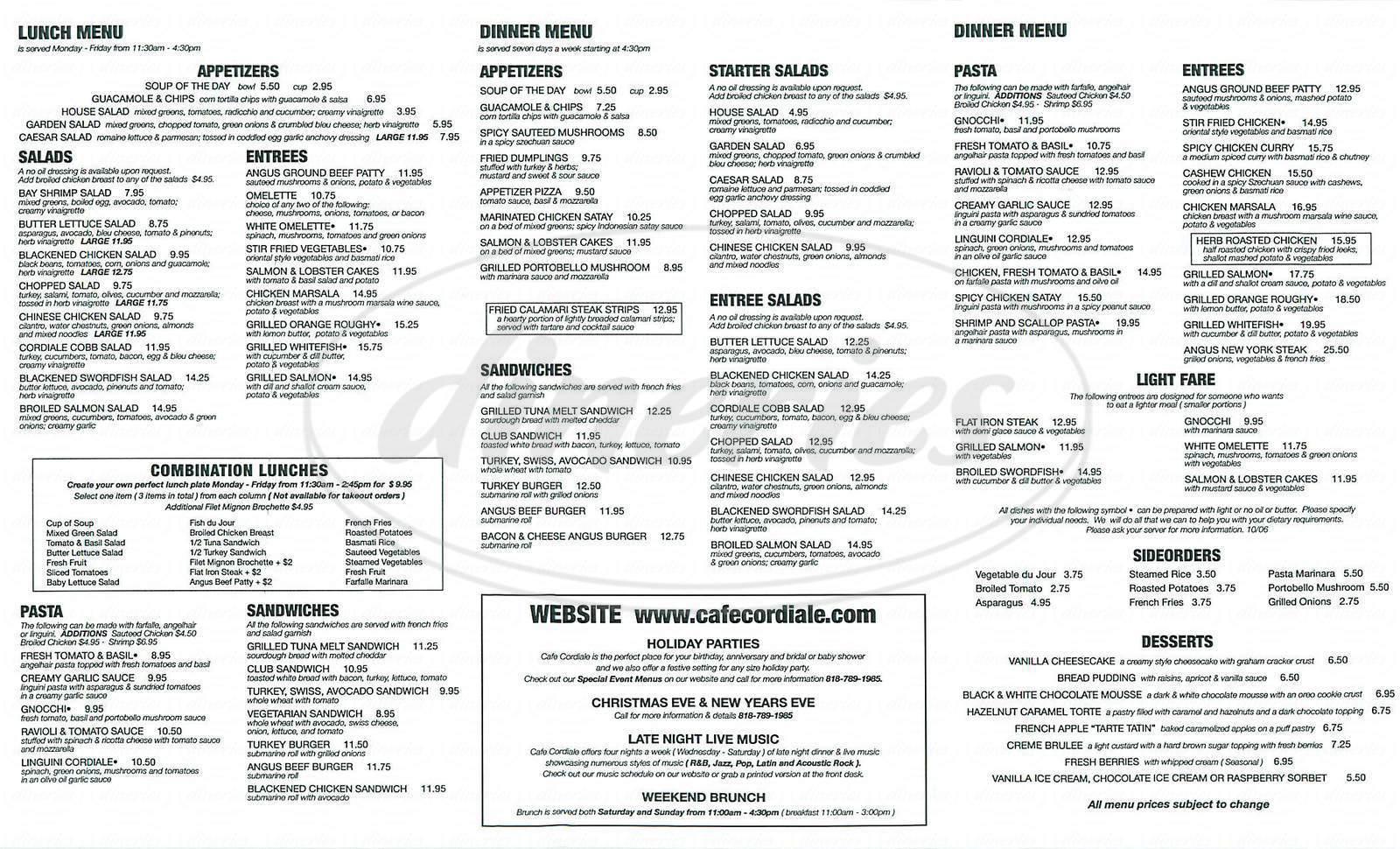 menu for Café Cordiale