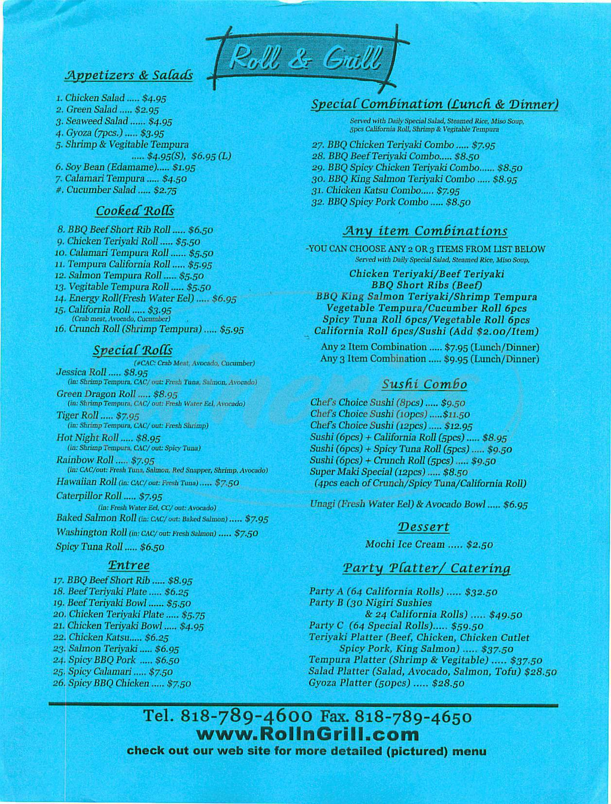 menu for Roll & Grill
