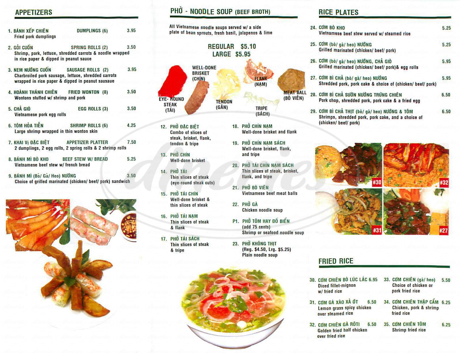 menu for Saigon Noodle House