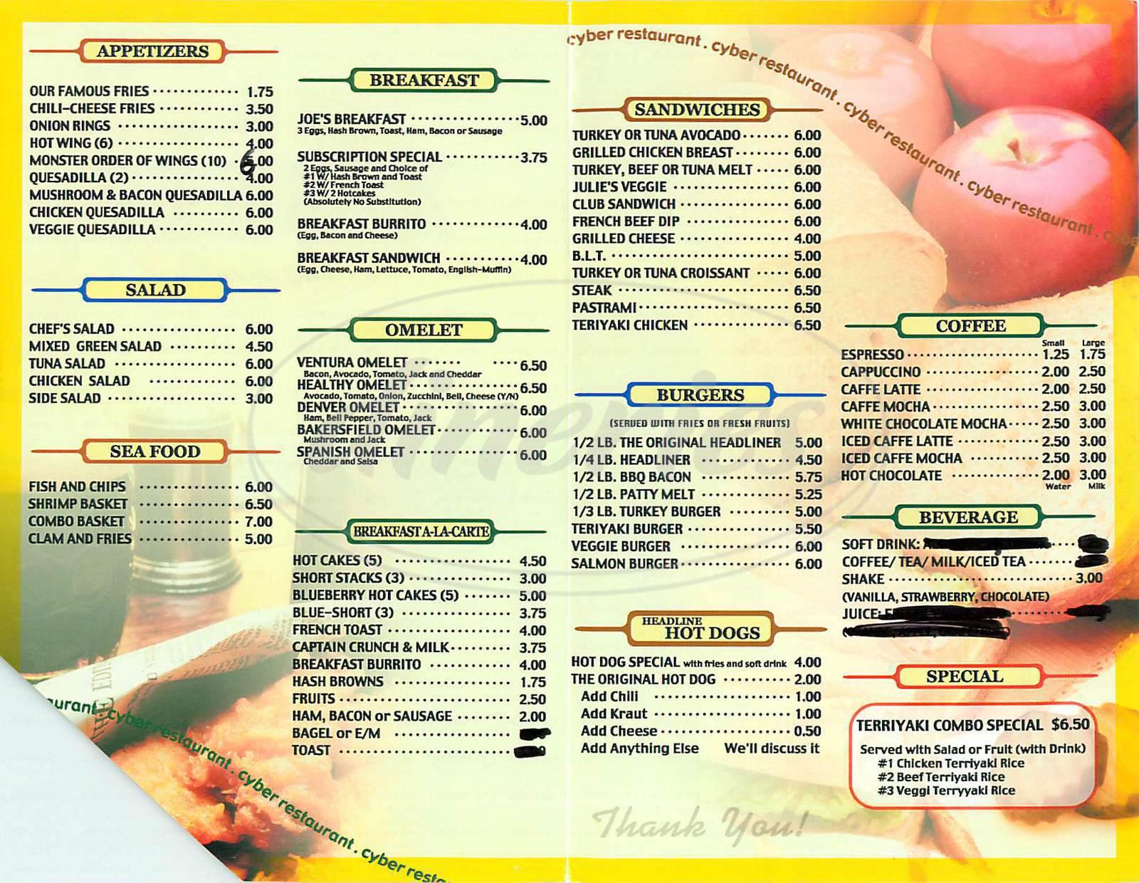 menu for Headlines Sherman Oaks