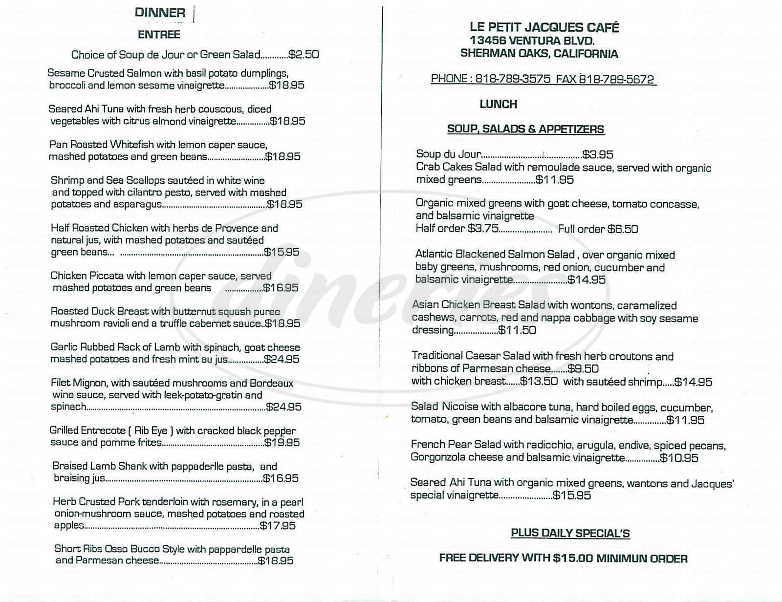 menu for Le Petit Jacques Café