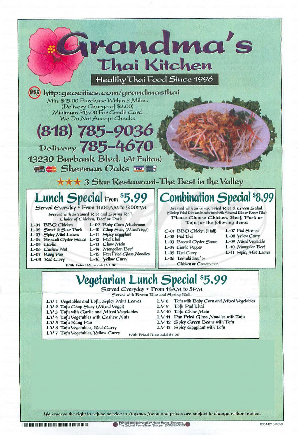 menu for Grandmas Thai Kitchen