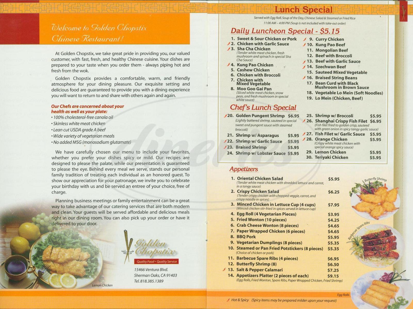 menu for Golden Chopstix