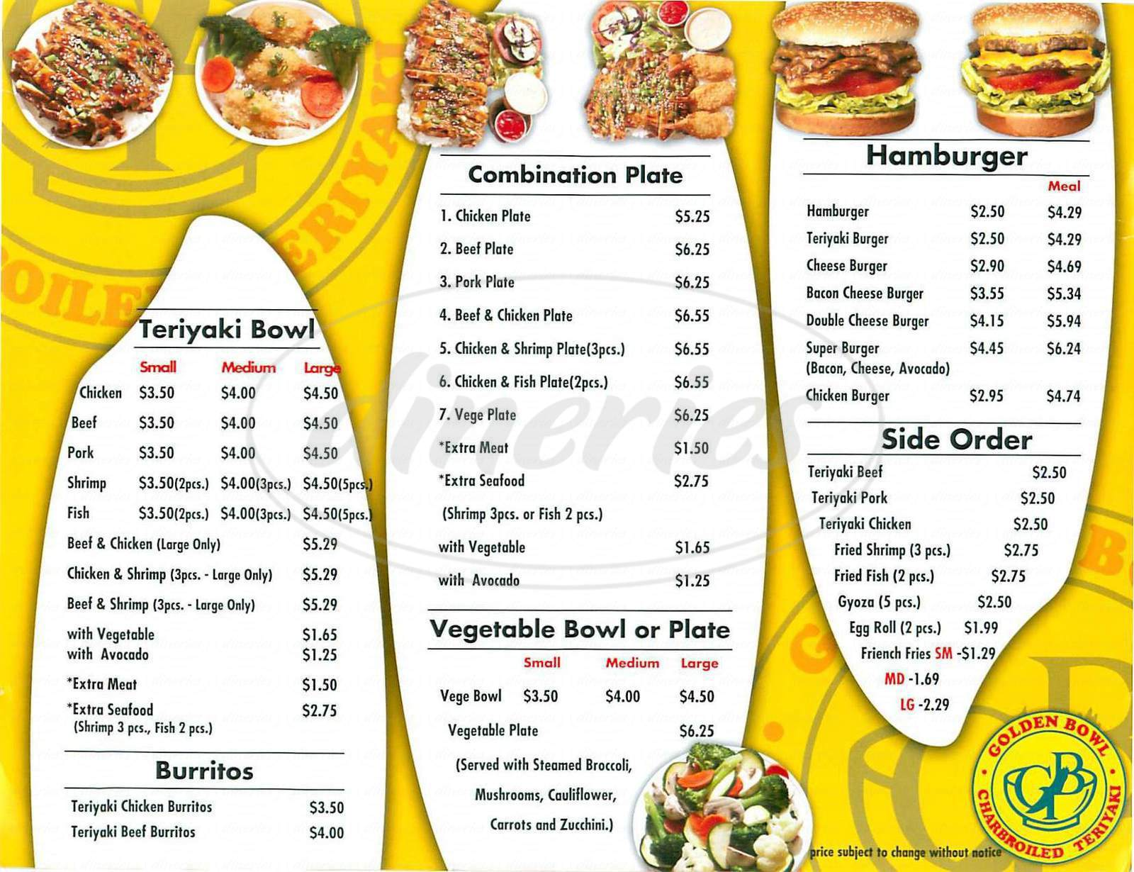 menu for Golden Burger Teriyaki