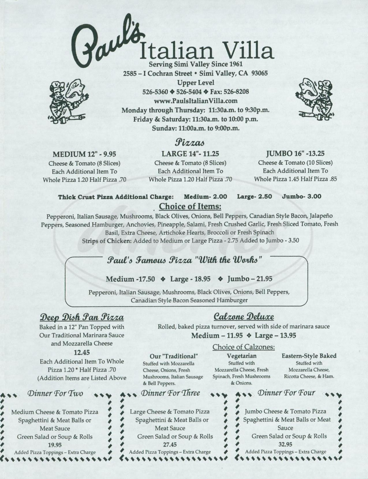 menu for Pauls Italian Villa