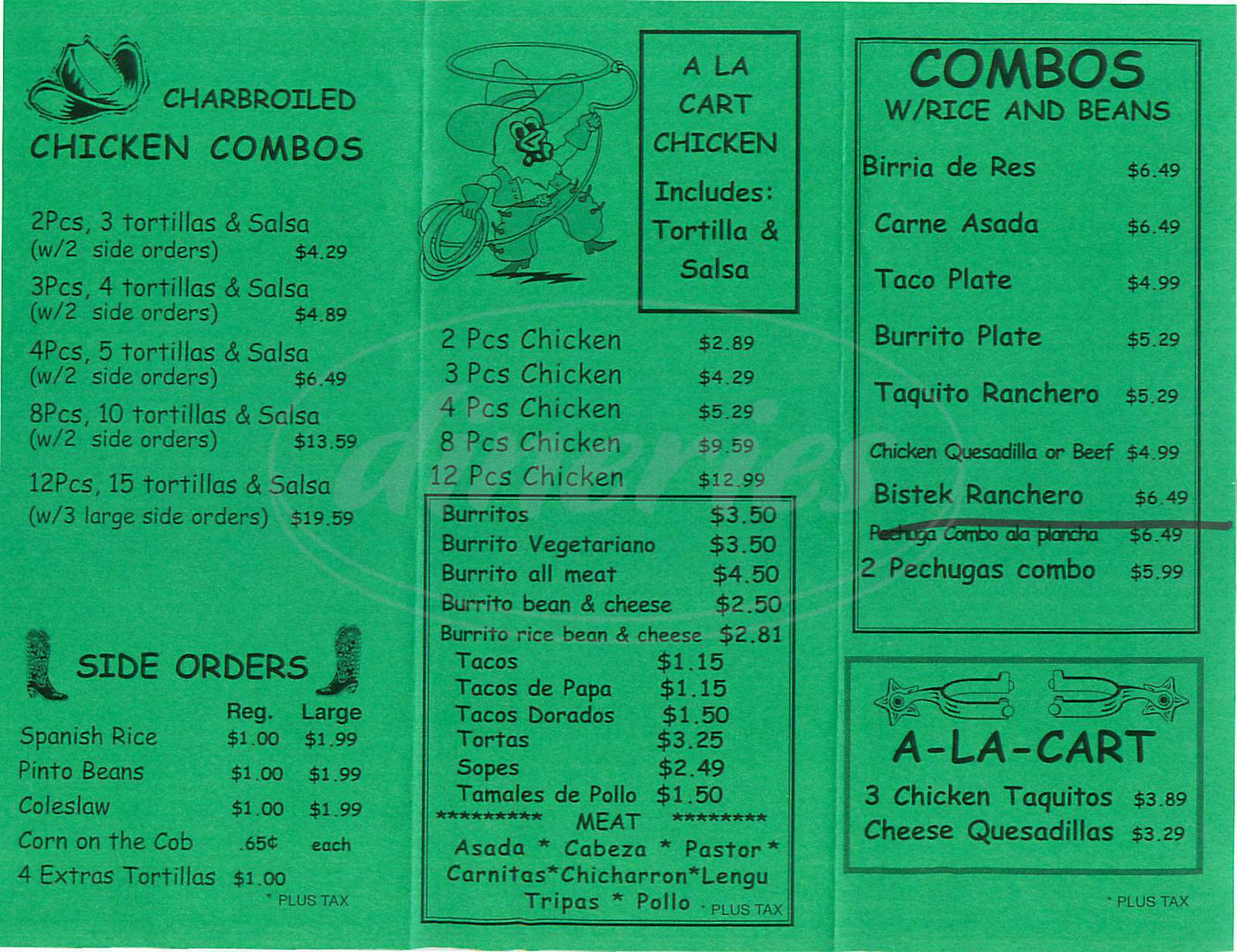 menu for El Pollo Charro