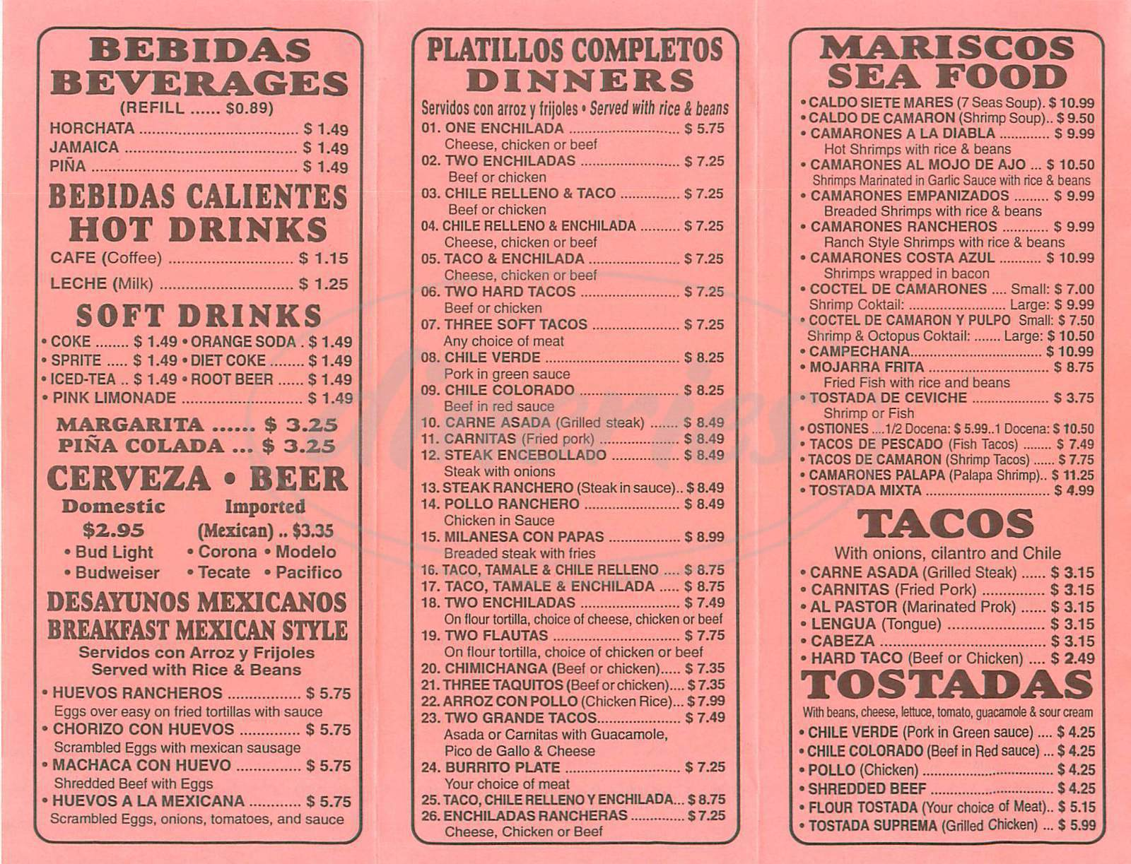 menu for Palapa Mexican Food
