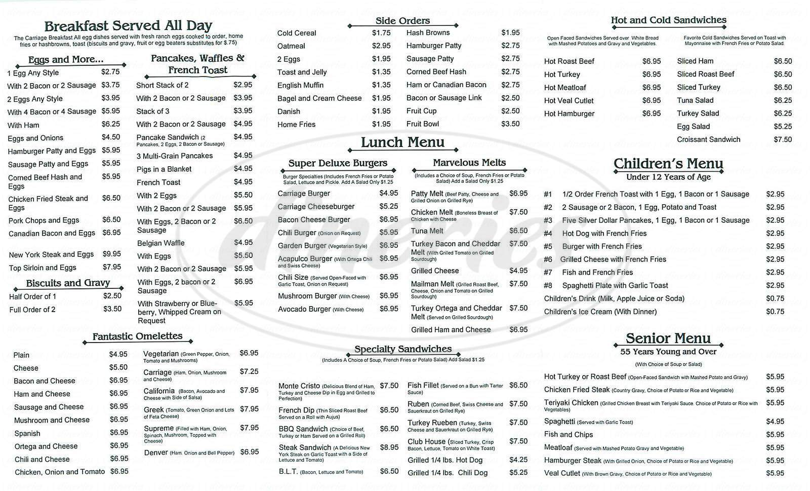 menu for Carriage Café