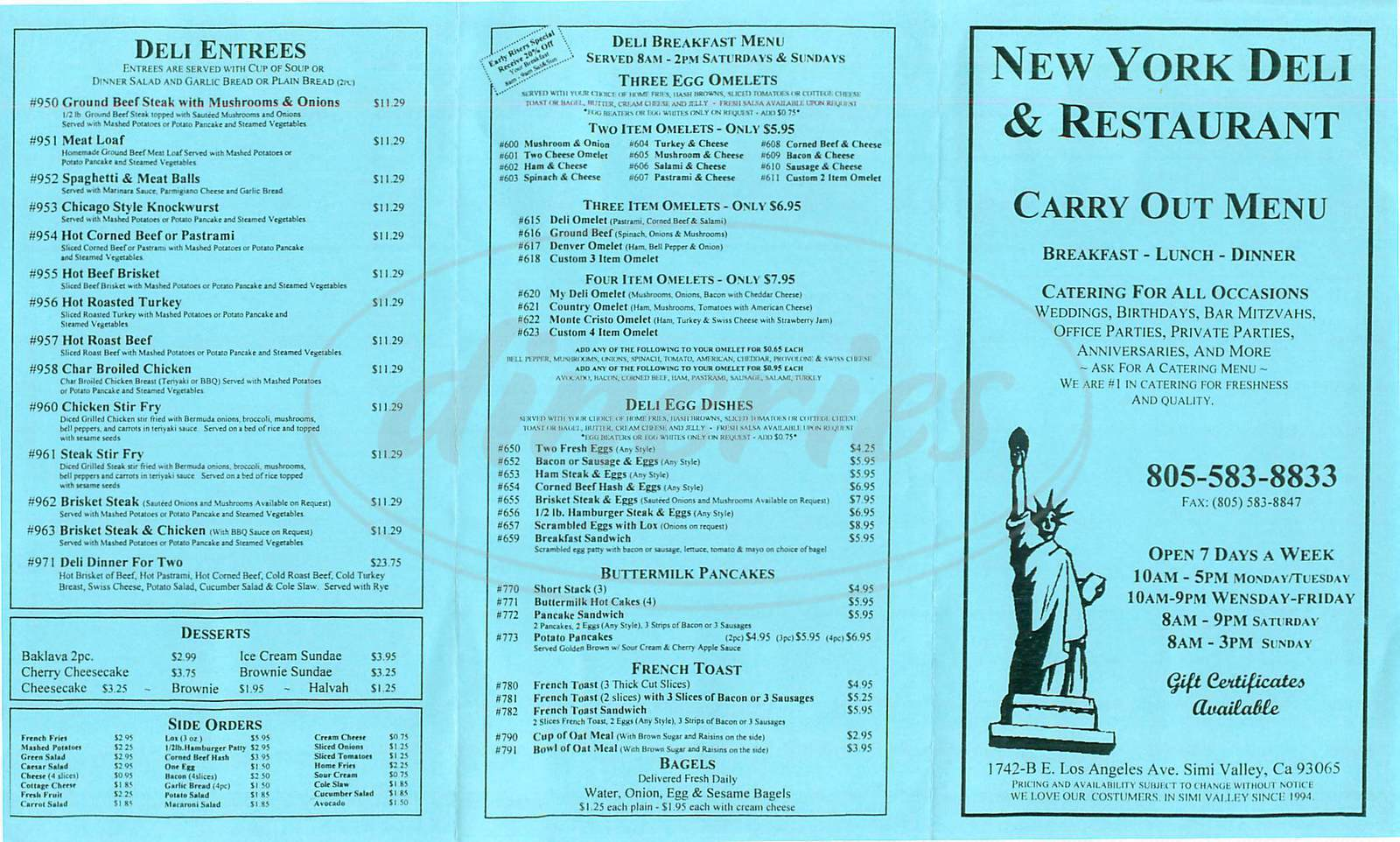 menu for New York Deli and Restaurant