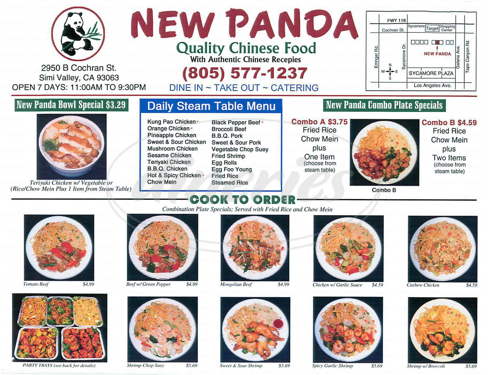 menu for New Panda