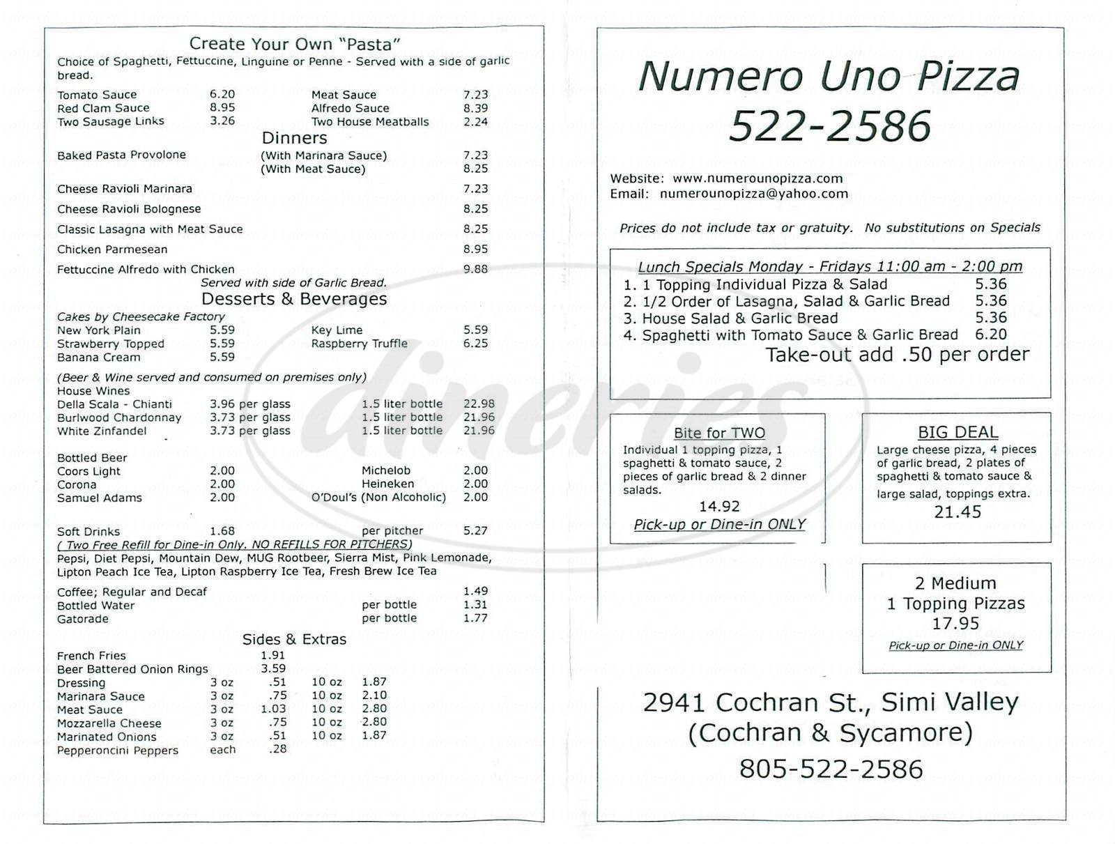 menu for Numero Uno Pizza Pasta & More