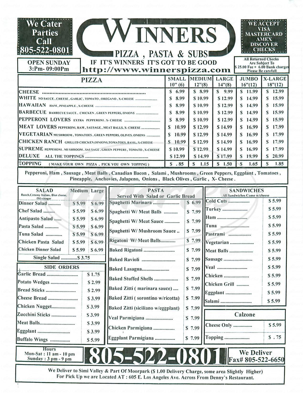 menu for Winners Pizza