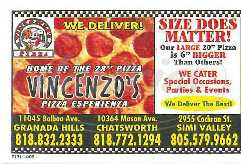 menu for Vincenzos Pizza Esperienza