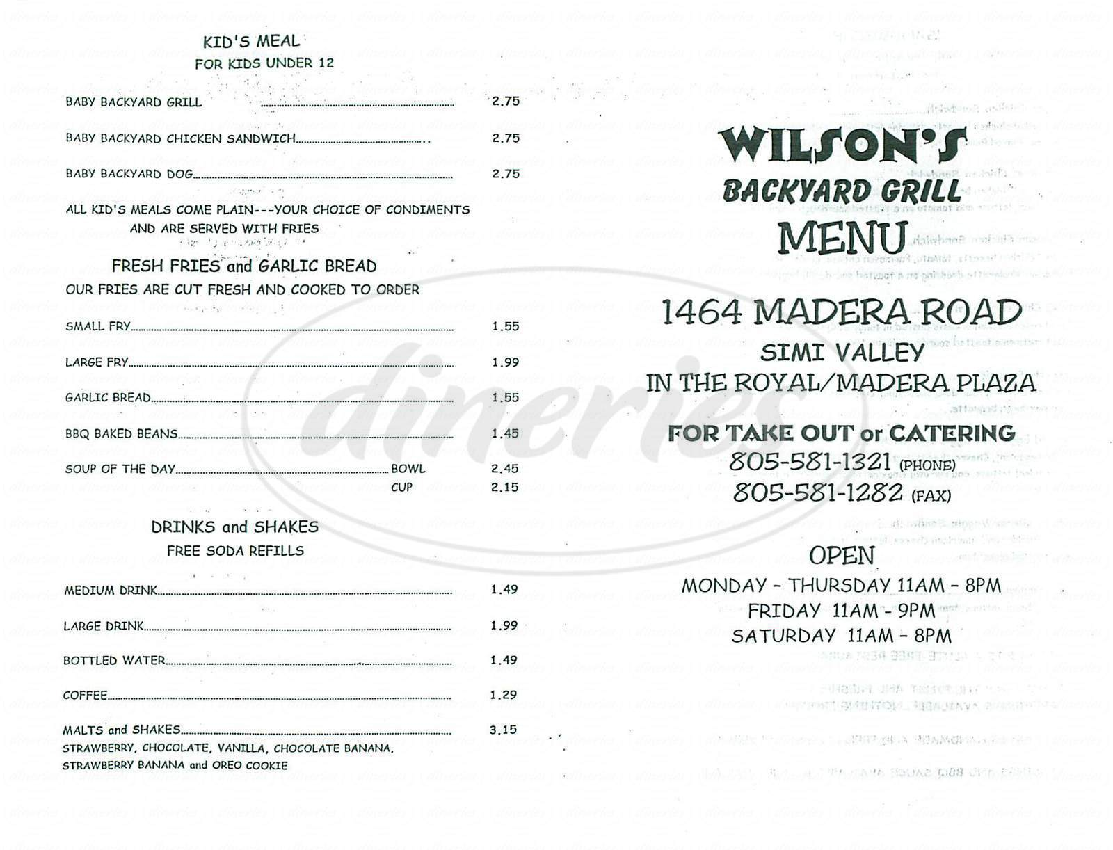 menu for Wilsons Backyard Grill