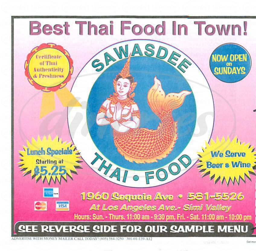 menu for Sawasdee Thai Food