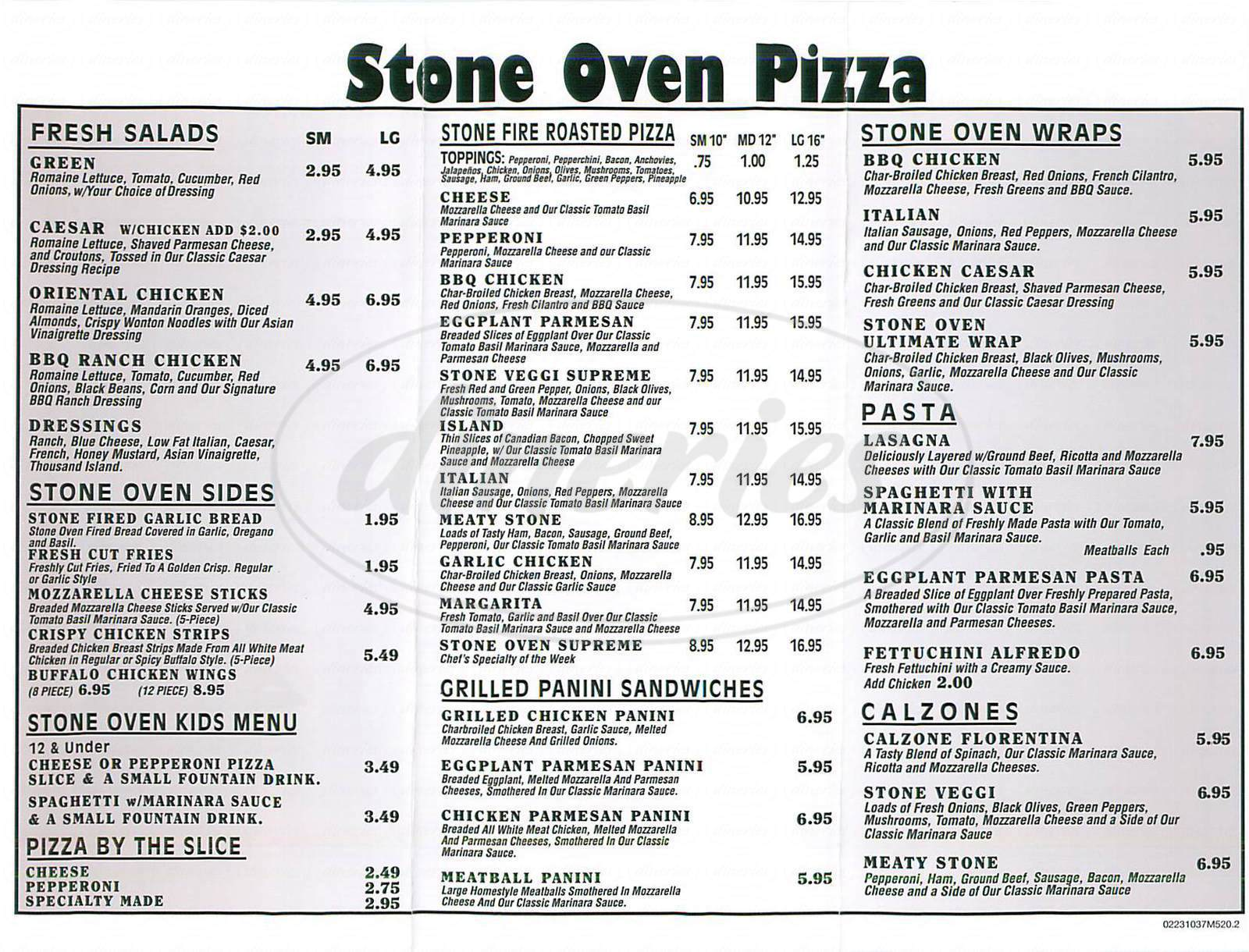 menu for Stone Oven Pizza