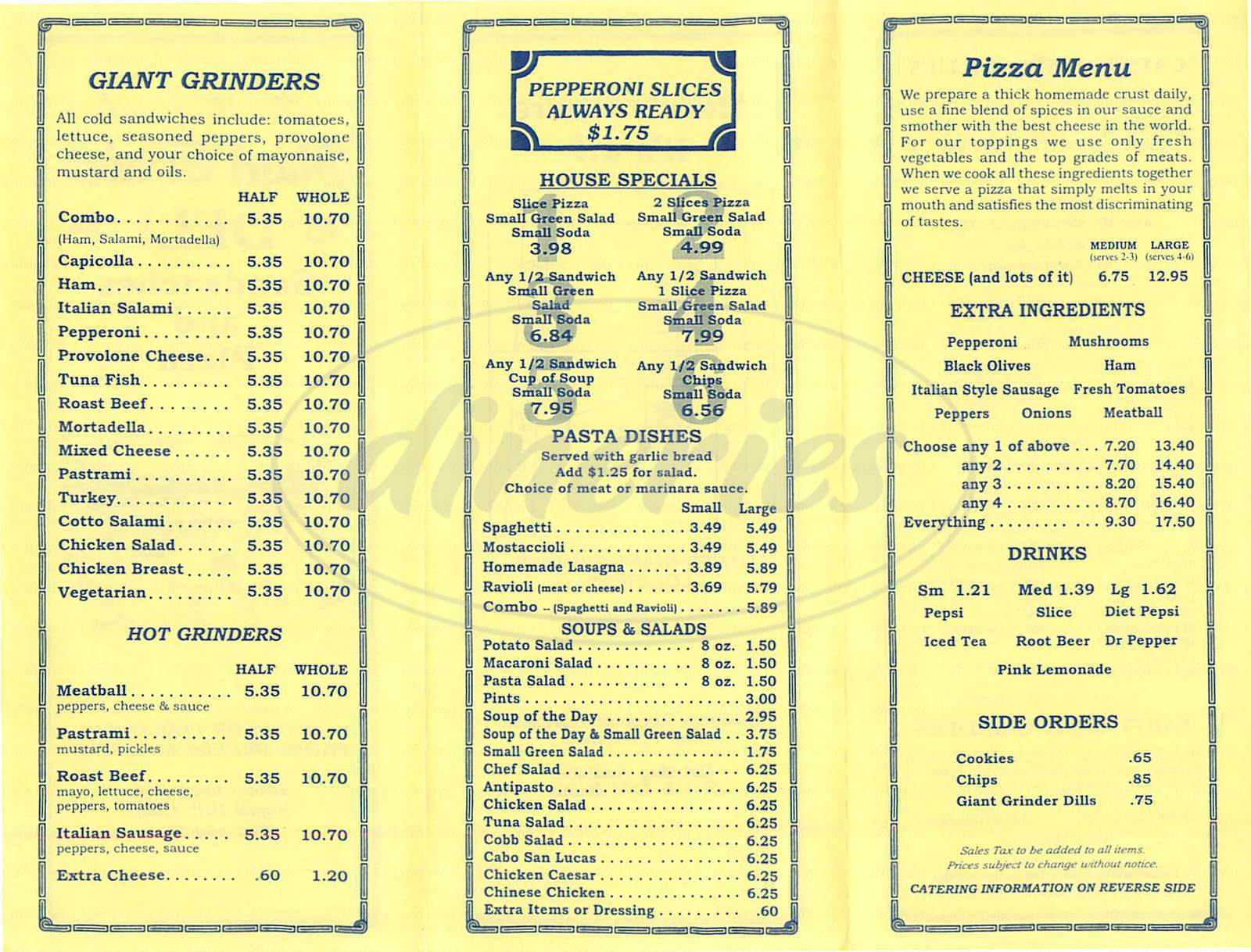 menu for The Giant Grinder Deli